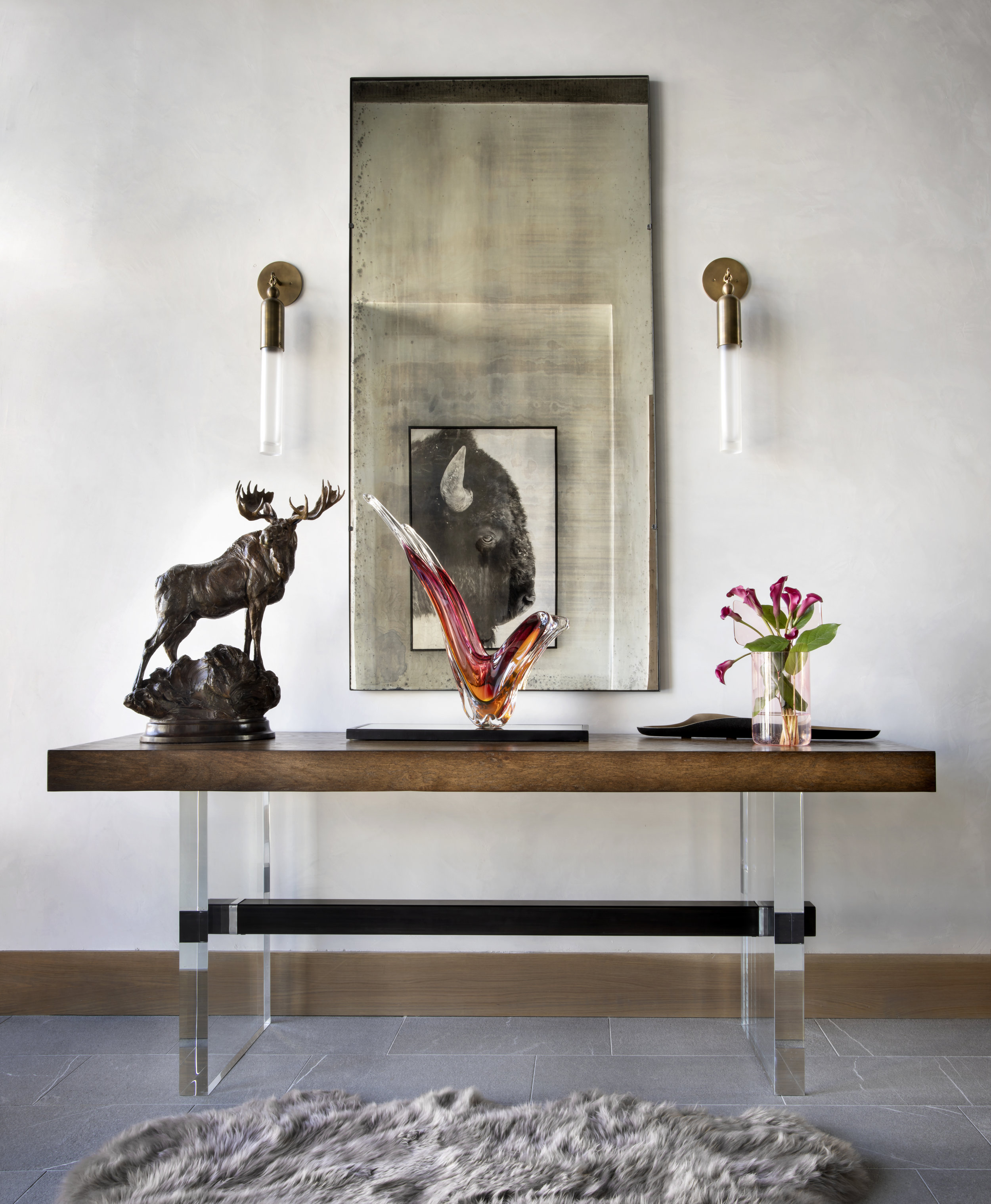 Custom Acrylic Base Console and Furnishings Throughout | Brandner Design