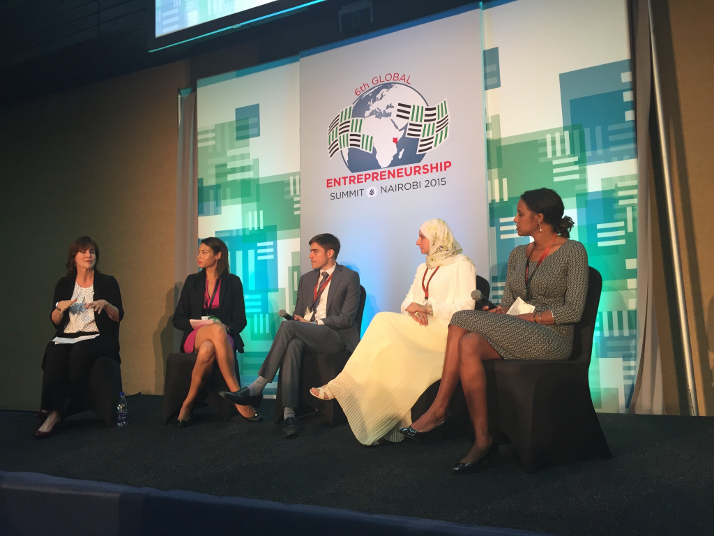 Jean Case, CEO at The Case Foundation. Breanna Zwart, Global Communications and Public Policy at Google. Mark Straub, Co-founder and Director of Khosla Impact. Nermin Saad, Engineer and CEO of Handasiyat. Isis Nyongo CEO and Founder of MumsVillage.