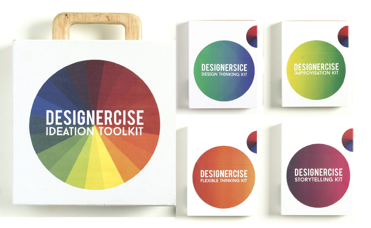 The Designercise ideation toolkit family by disrupt design