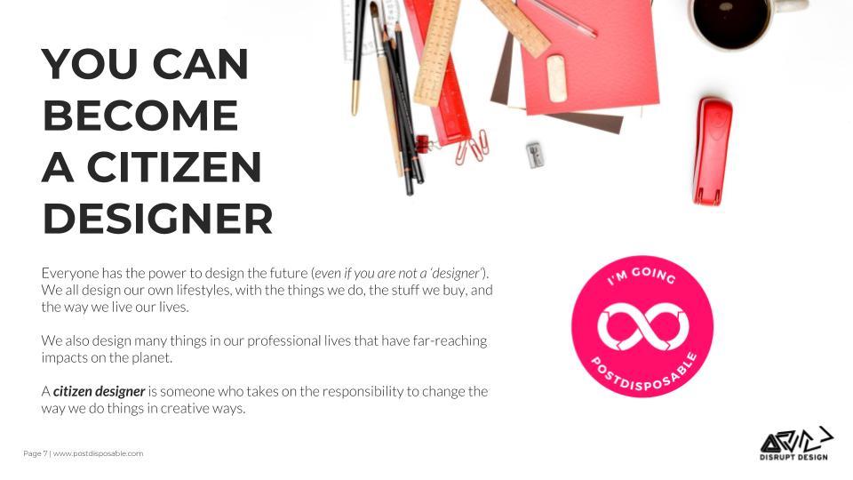 citizen designer with post disposable challenge