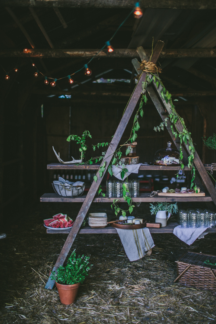 Styling other areas - Don't be afraid to set up a unique and special appetizer area away from your dinner table! It'll give your guests a chance to mingle with everyone, rather than going straight to the table and you'll get to play around with more styling elements and make it more fun!