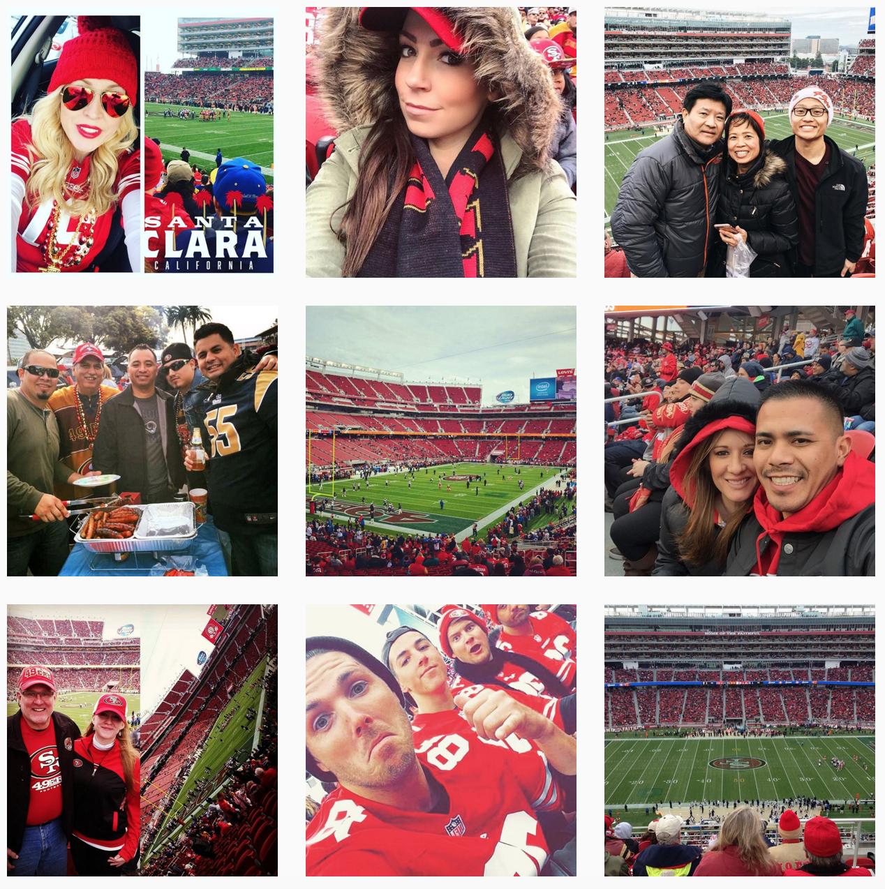 Zrzut ekranu z hashtaga #levisstadium na Instagramie - zdjęcia fanów z meczu, na którym byłam.