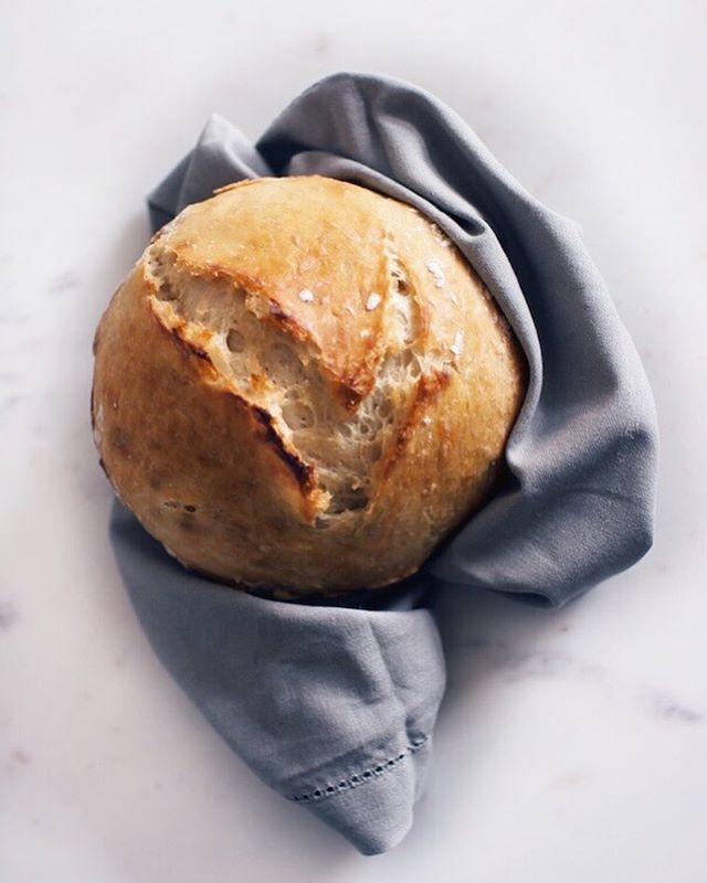Once you make homemade #bread it's really hard to stop. Check out the recipe for this honey + thyme no knead Dutch oven loaf that's the perfect size for two to share. Link in profile!