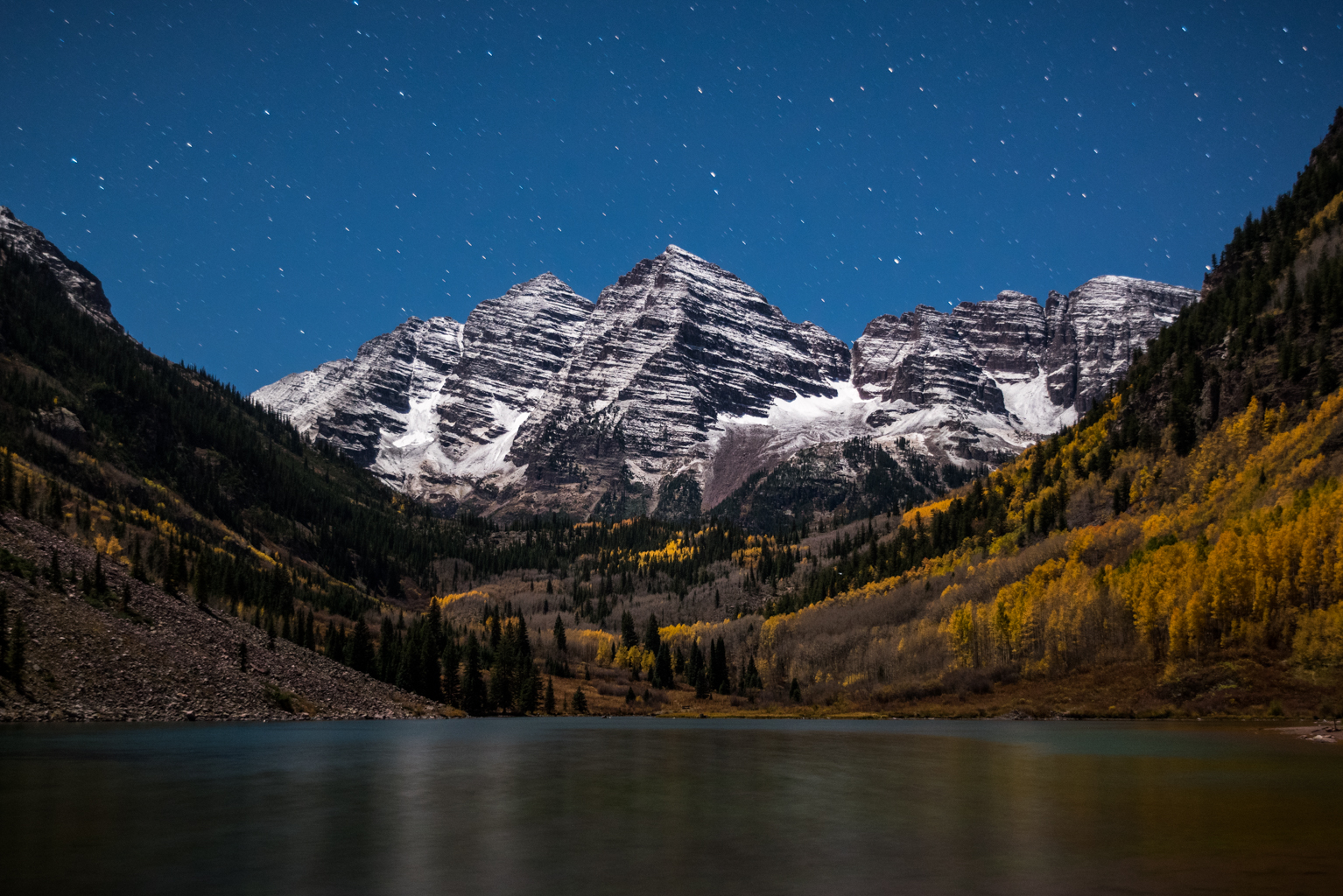 Maroon Bells under stars