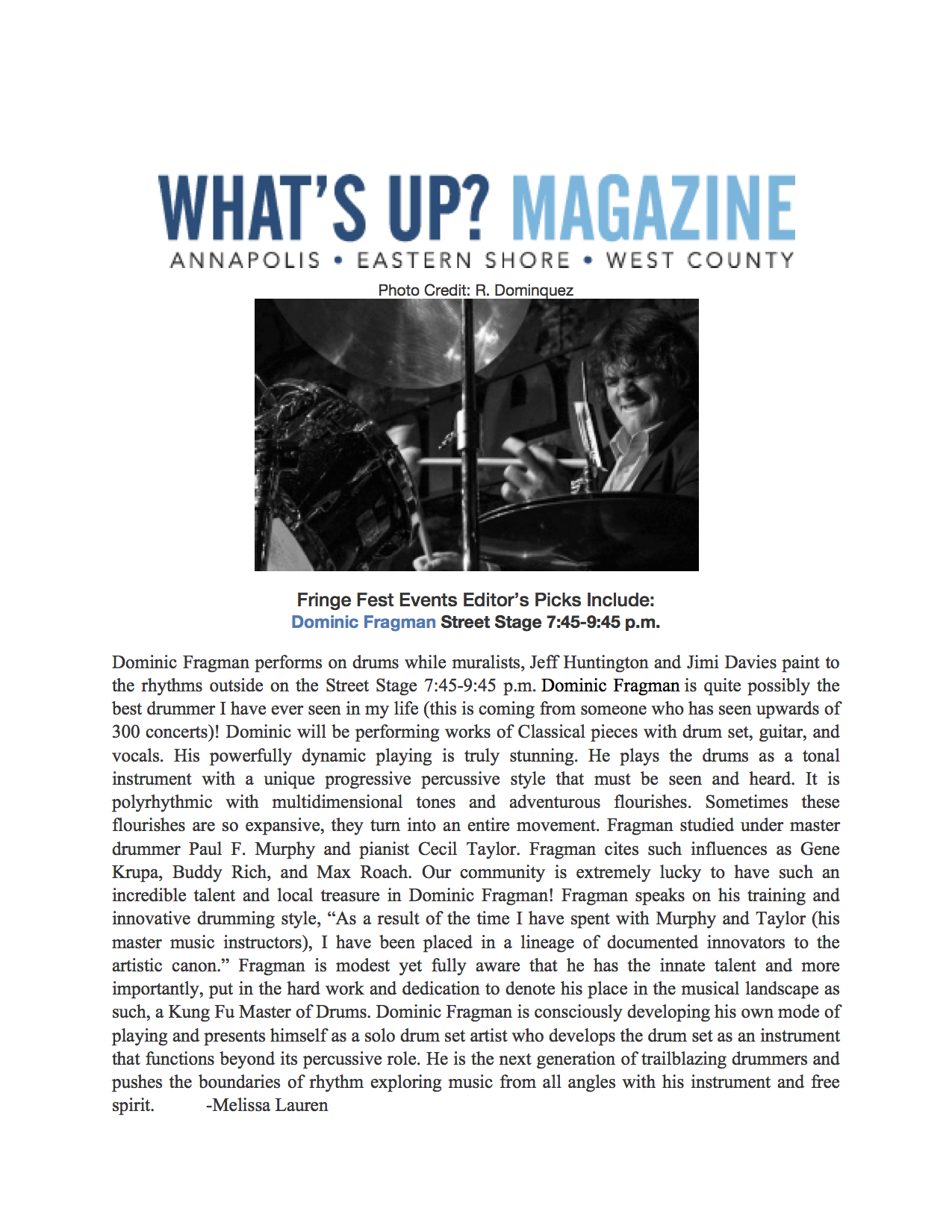 Dominic Fragman Whats Up Magazine