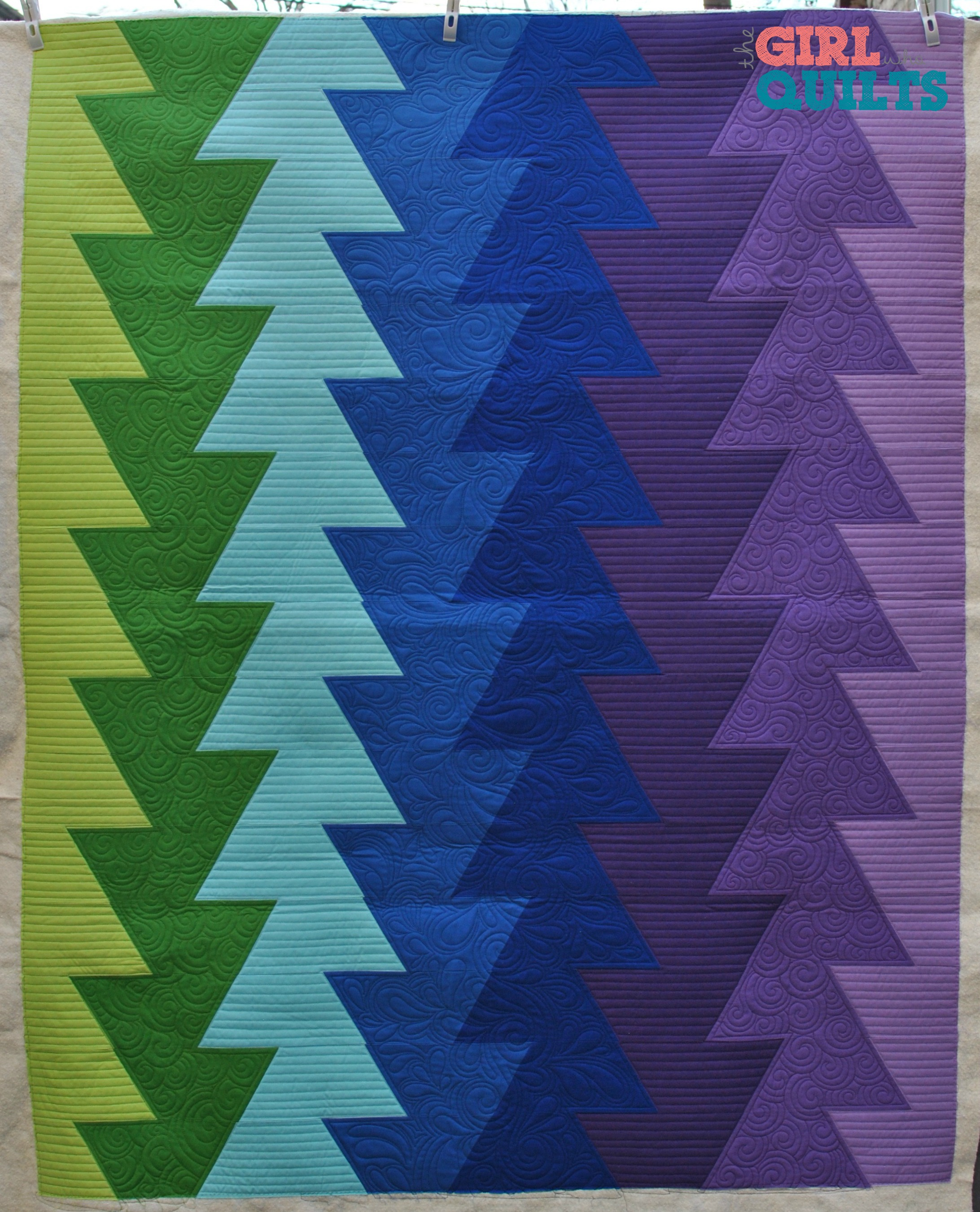 Northern Lights - Pattern by JayBird Quilts, Pieced by my mom, quilted by The Girl Who Quilts