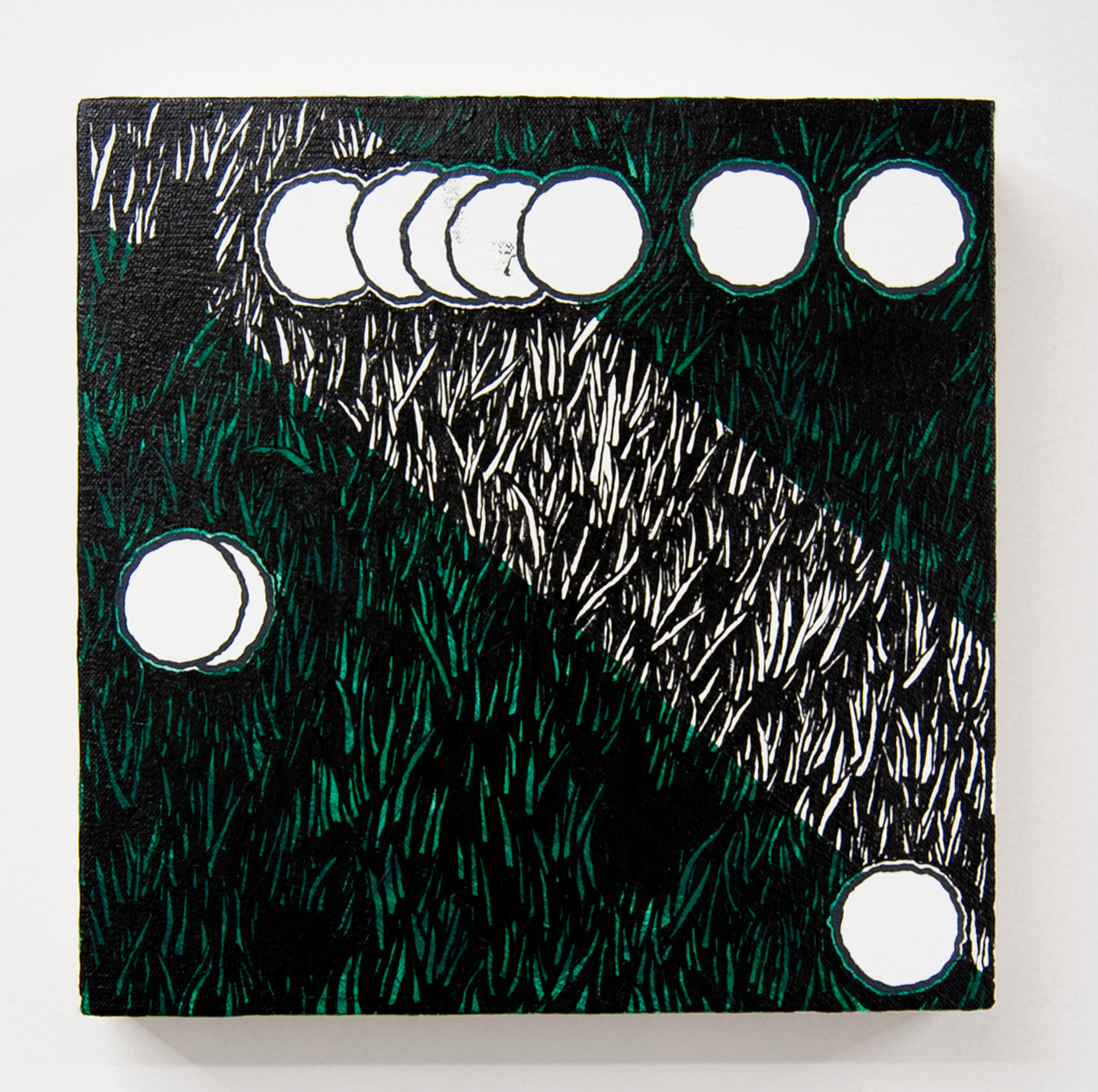 """Pitch Slant,"" acrylic on canvas, 10 x 10 inches, 2019"