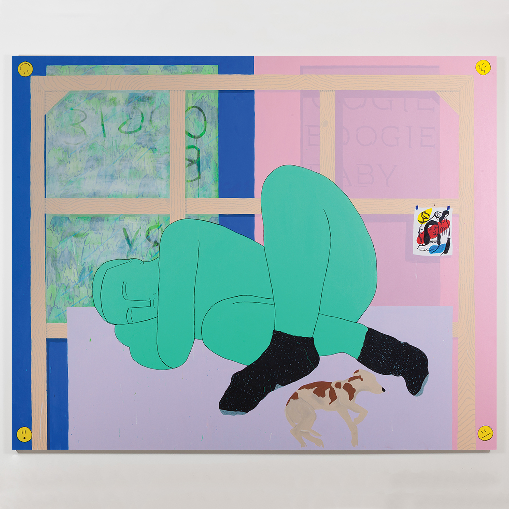 """""""The Athlete Naps with Purpose (Oogie Boogie Baby),"""" acrylic on canvas, 80 x 98 inches, 2017"""