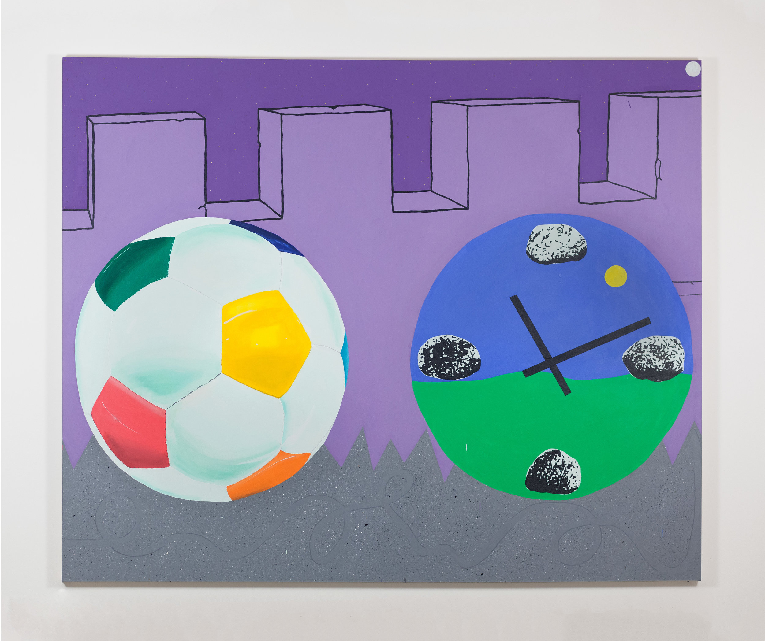 """Argle Bargle Brouhaha (The Football Painting),"" acrylic on canvas, 80 x 98 inches, 2018"