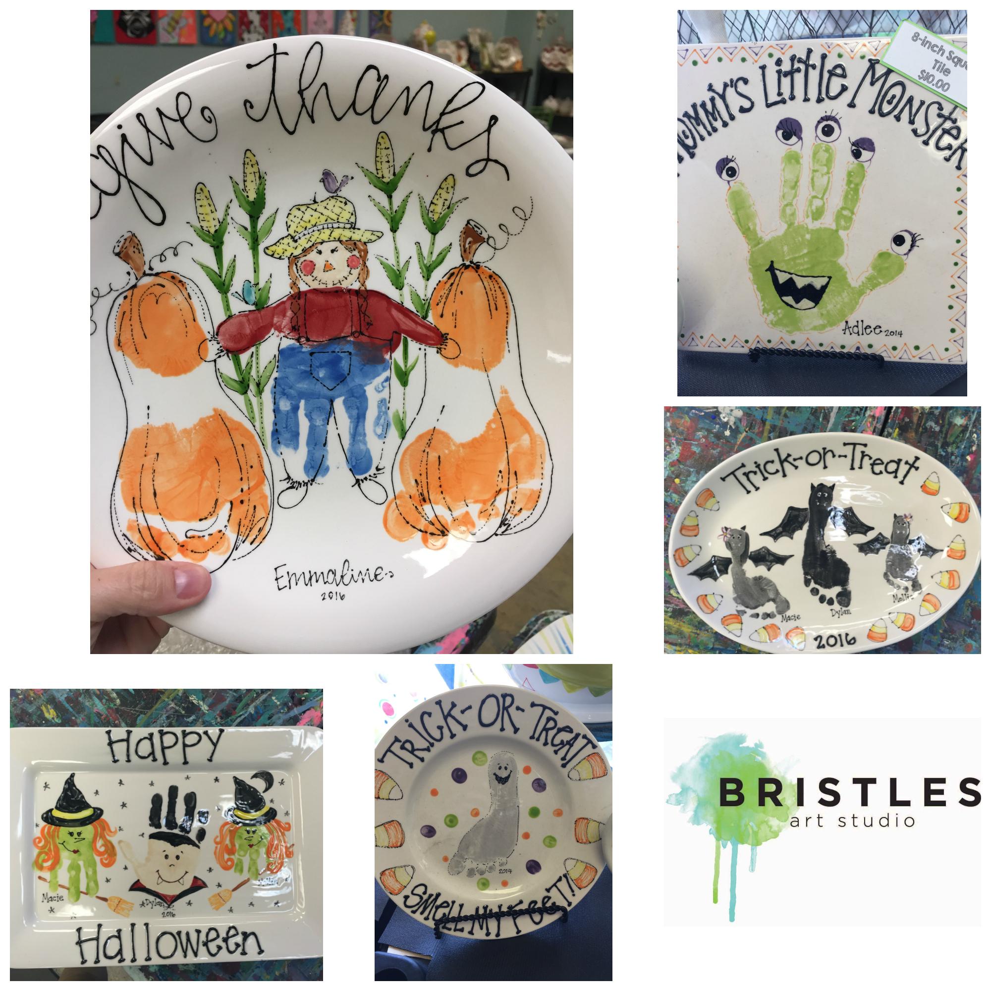 Fall Pottery Ideas - handprint and footprint keepsakes