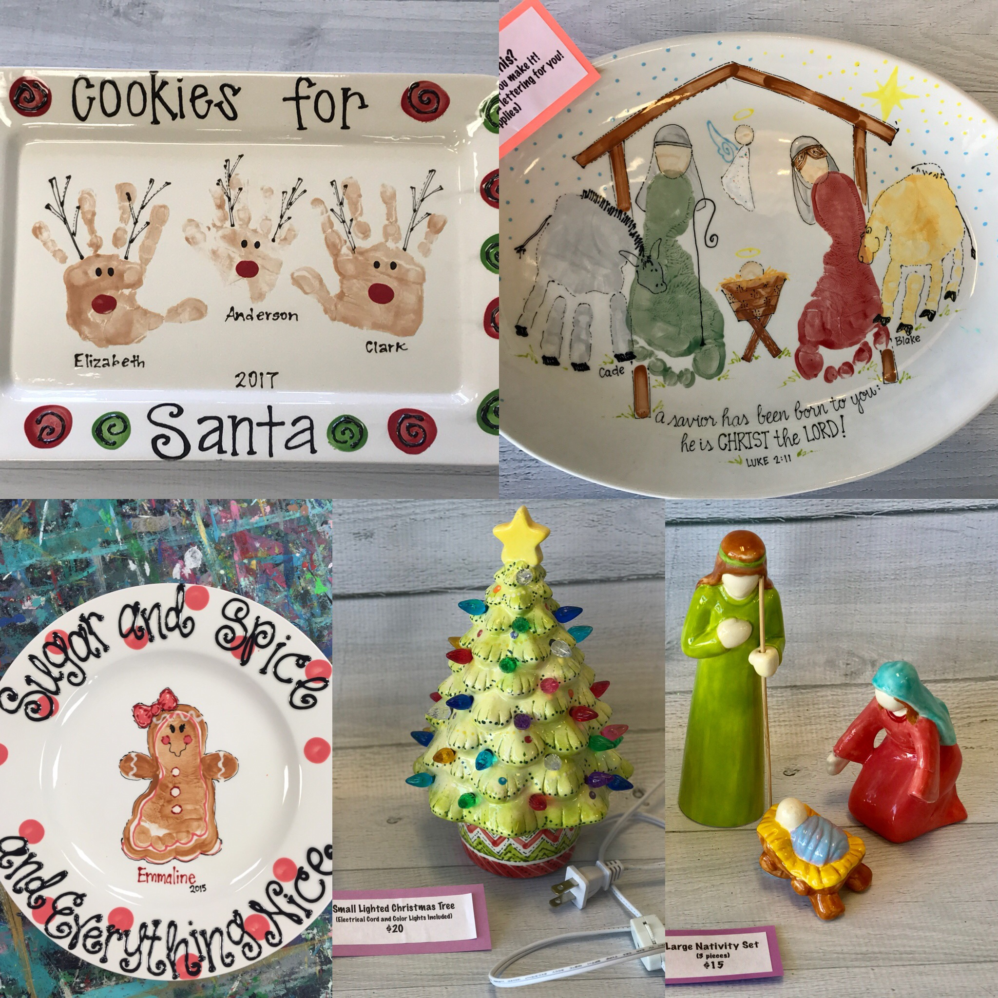 Christmas Pottery Ideas - Handprint and Footprint Keepsakes