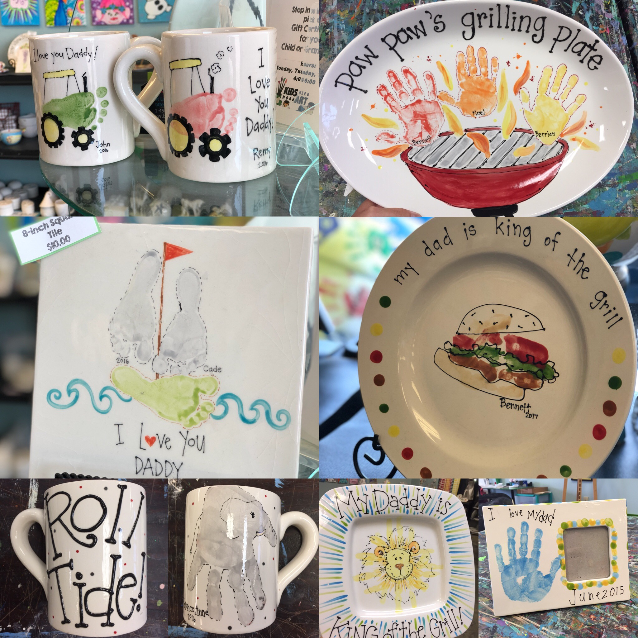 Mother's Day and Father's Day Pottery Ideas - Handprint and Footprint Keepsakes
