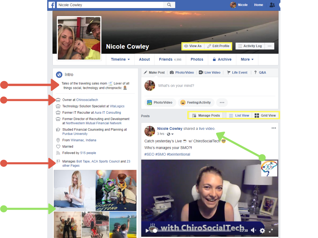 FB PERSONALYellow Boxes: view/edit your profile informationGreen Arrows: Shared from page to personal (so we can still gather data, analytics and pixel people)Select highlight photos to appear on top of profileRed Arrows: Short, brief Intro StatementTAG YOUR BUSINESS'S FACEBOOK PAGE (SO IT'S LINKED/CLICKABLE)CAN SHOW THE PAGES THAT YOU MANAGE ON YOUR PERSONAL PROFILEGO TO