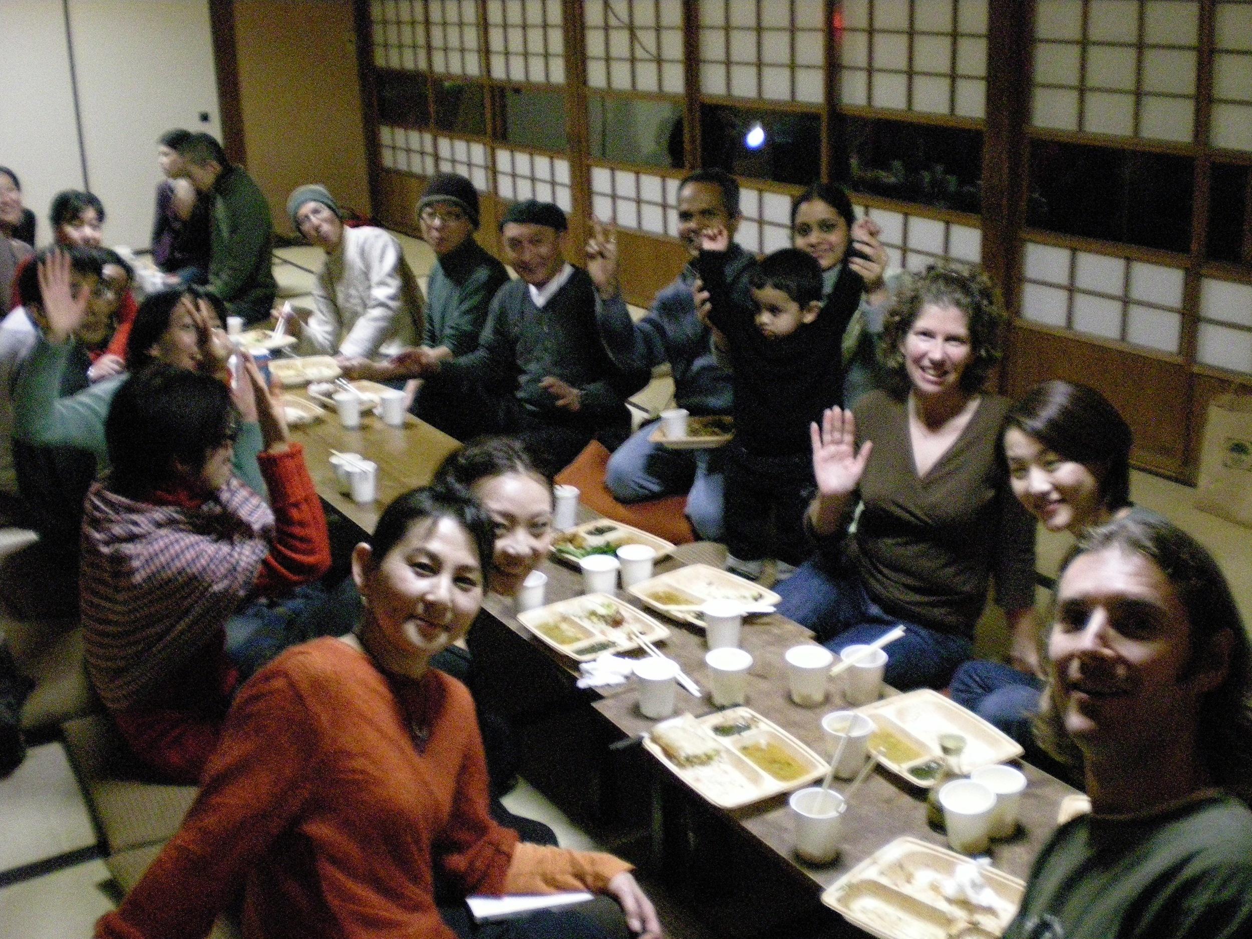 After kirtan dinner, Kamakura, Japan