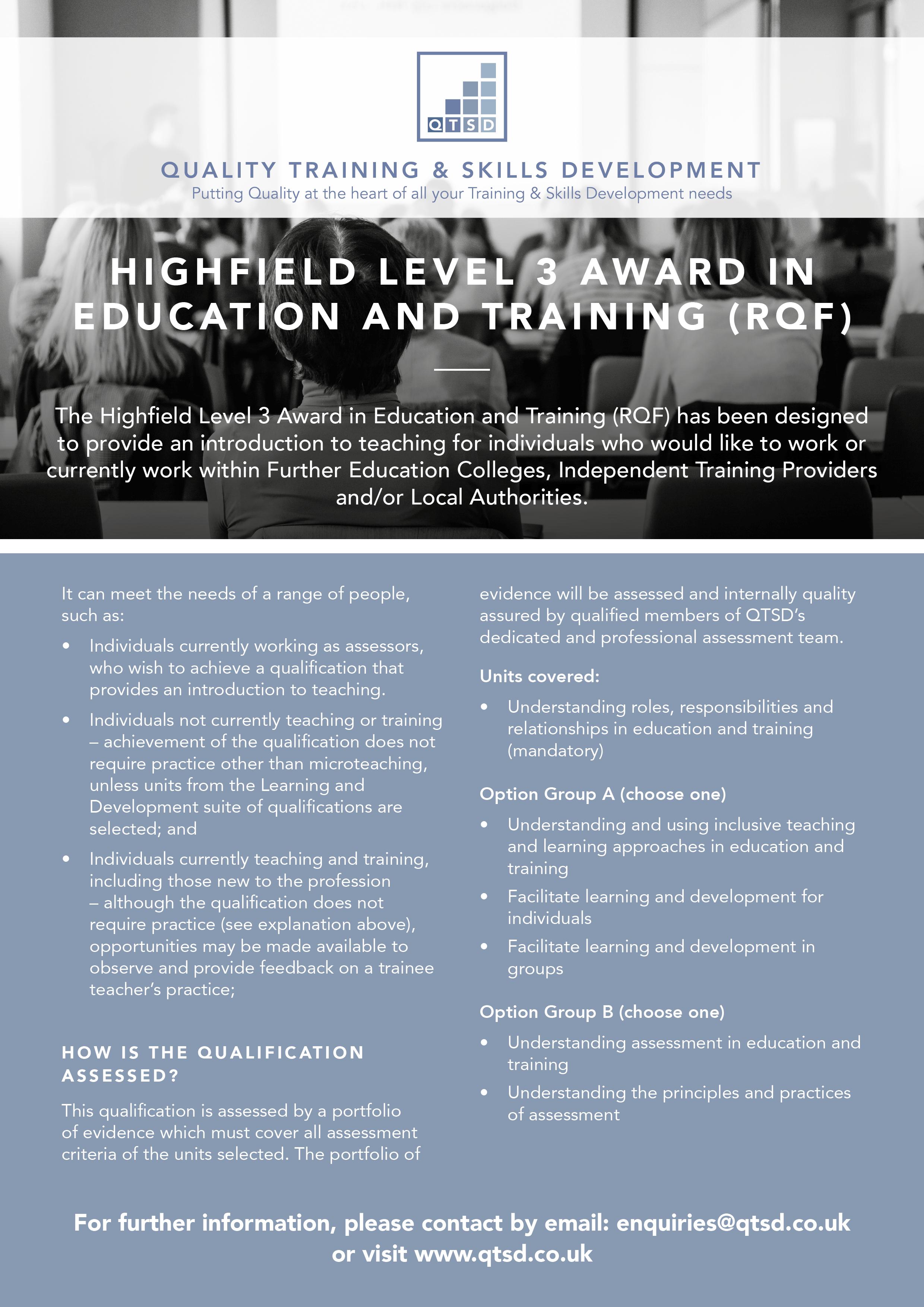QTSD  Education and Training (RQF)  LEAFLET.jpg