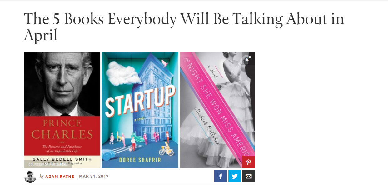 """Some people are calling  Startup  a satire, but you get the feeling that there's very little air between Doree Shafrir's alternately hilarious and unsettling novel and reality.""    -Town & Country , March 2017"