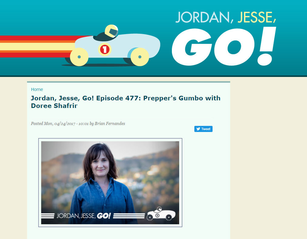 """Writer Doree Shafrir joins Jordan and Jesse for a discussion of Jesse's interview with Terry Gross, Doree's recent trauma getting bit by a dog, and Jordan's trip to New Orleans.""   - Jordan, Jesse, Go! , April 2017"