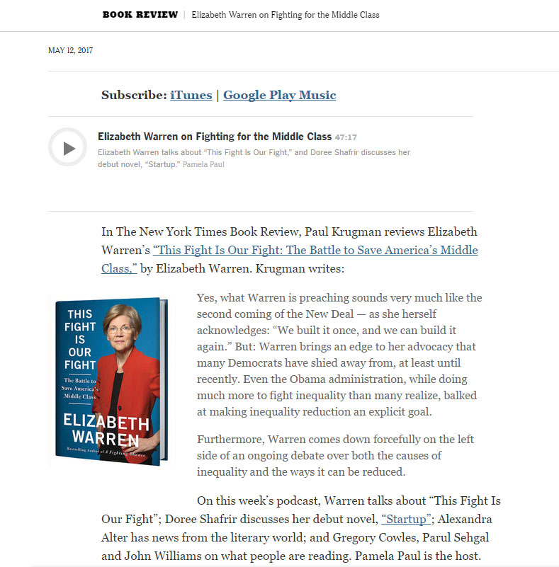 - New York Times Book Review Podcast , May 2017