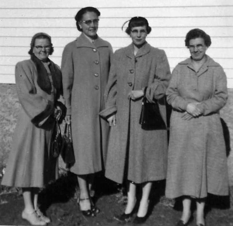 1957 - 1958 Officers; President Hilda Egge, Secretary Vida Hanson, VP Hazel Hendrickson, Treasure Ida Hendrickson