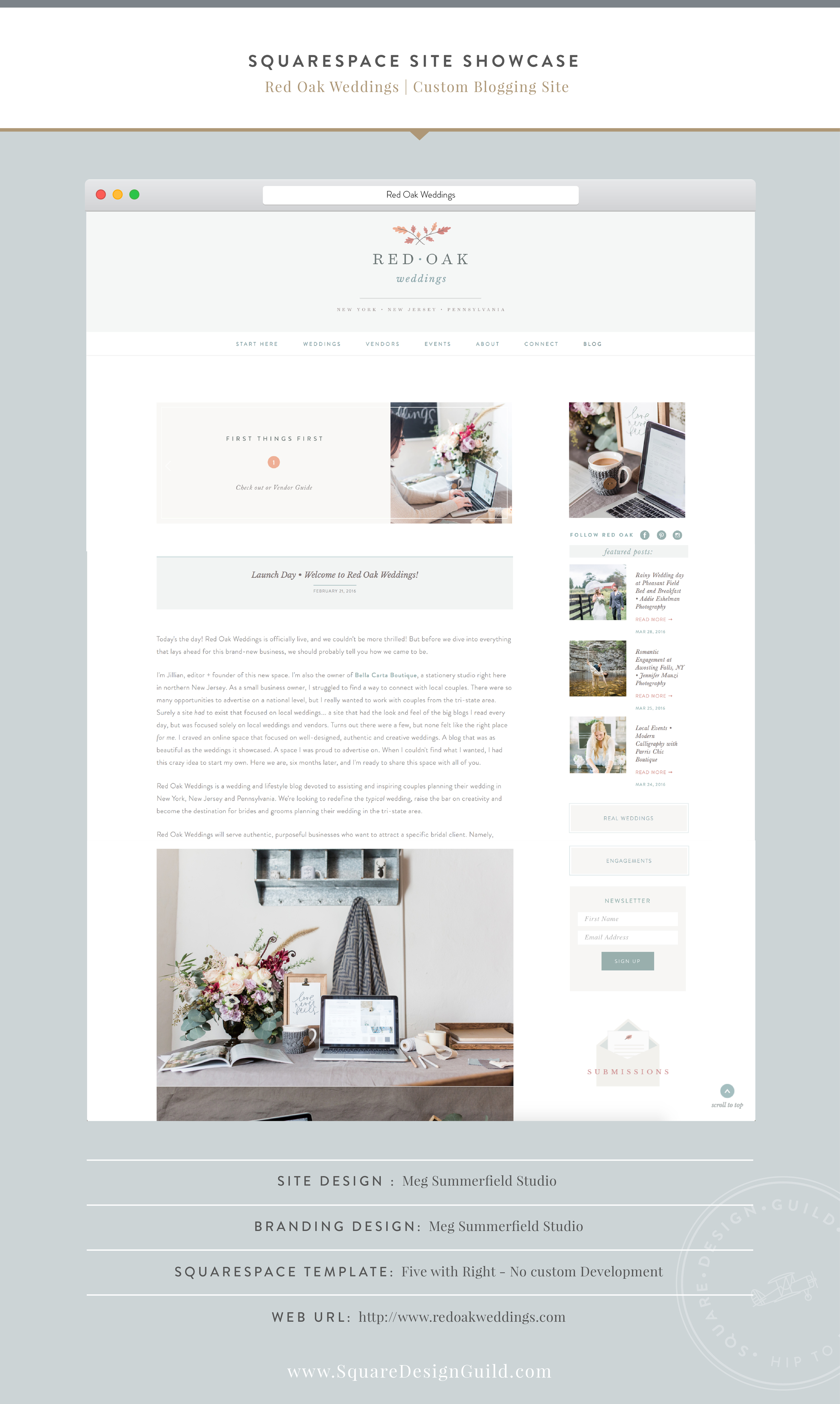 Squarespace Design Guild | Site Showcase by Designer | Red Oak Weddings