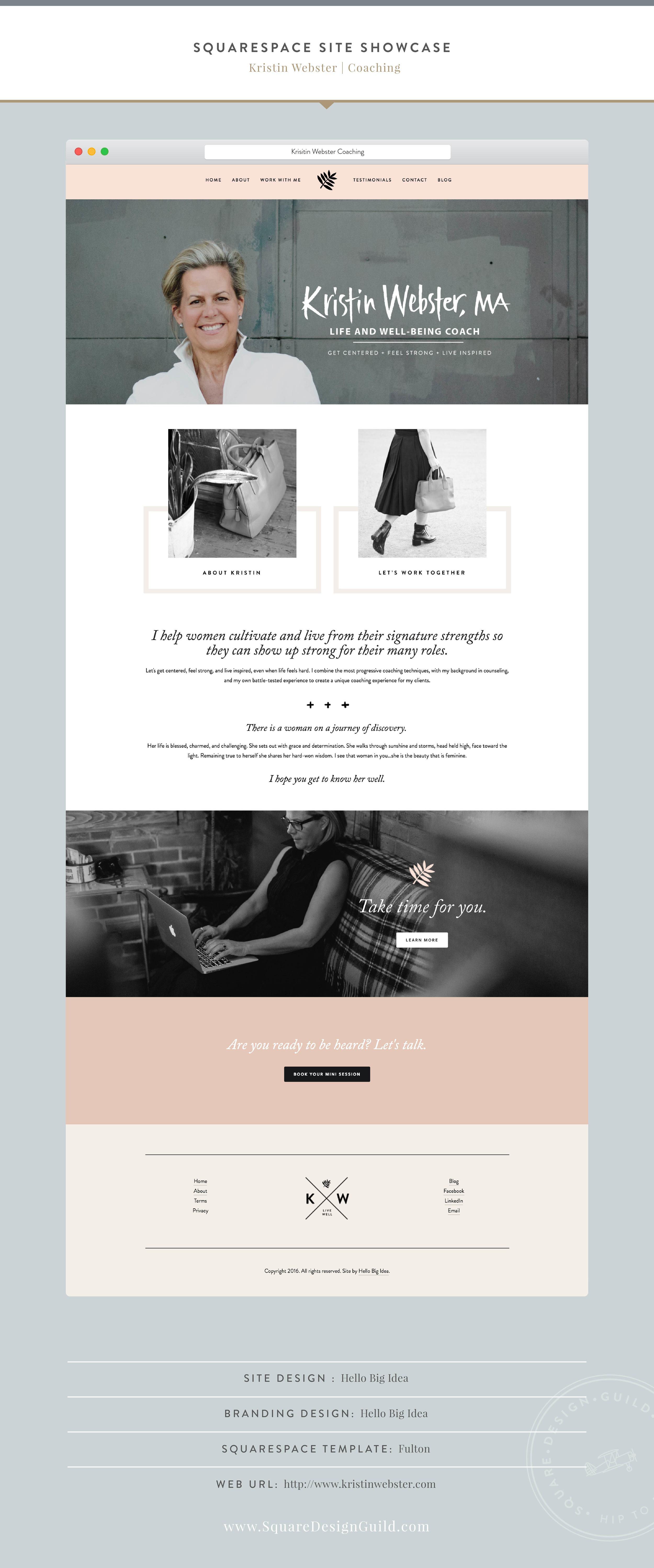 Squarespace Design Guild | Squarespace Site Showcase | Designed by Hello Big Idea for Kristin Webster Coaching | Fulton Template
