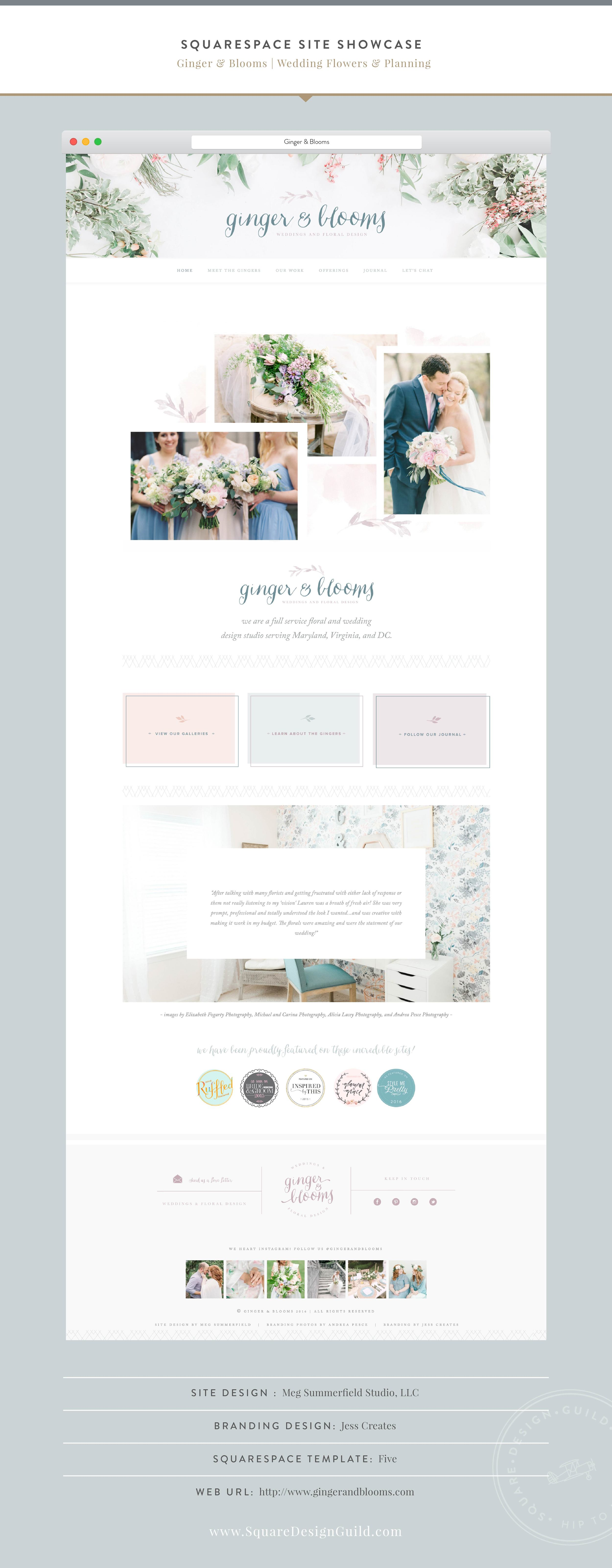 Squarespace Design Guild | Site Showcase | Ginger & Blooms by Meg Summerfield on the Five Template