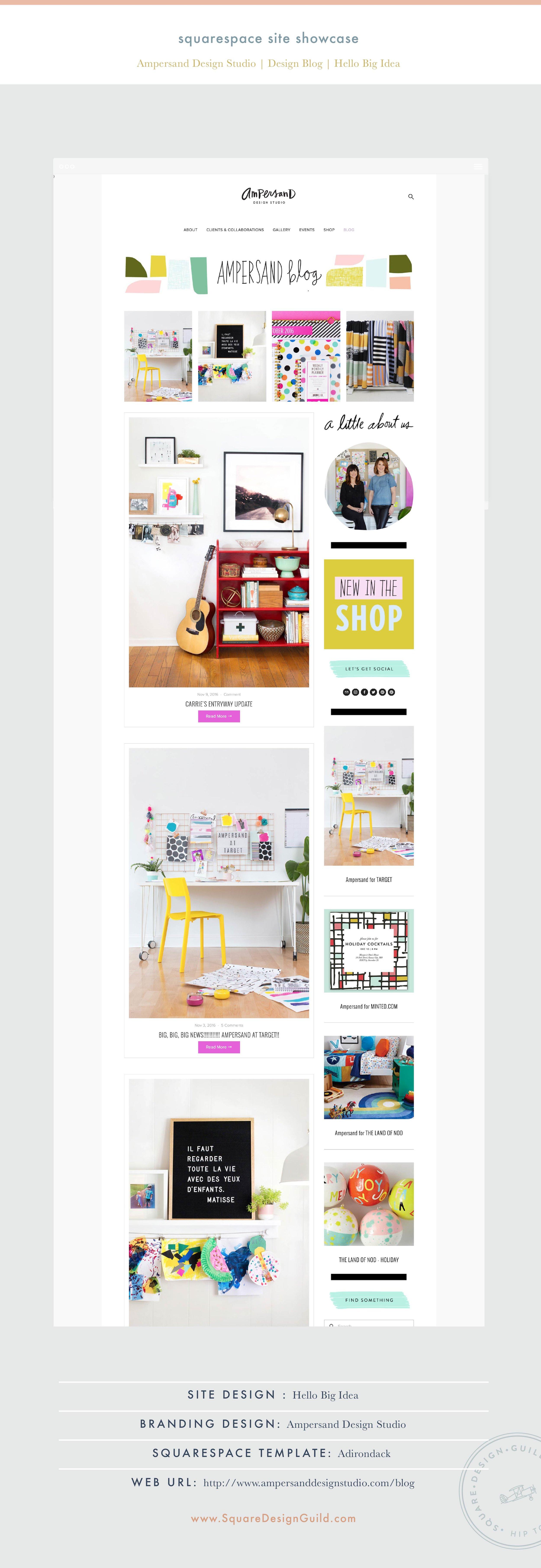 Site Showcase: Ampersand Design Studio Blog by Hello Big Idea on the Adirondack Template