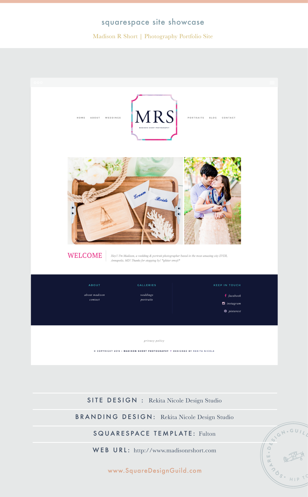 Square Design Guild | Site Showcase | Madison R Short Photography by Rekita Nicole on the Fulton Template