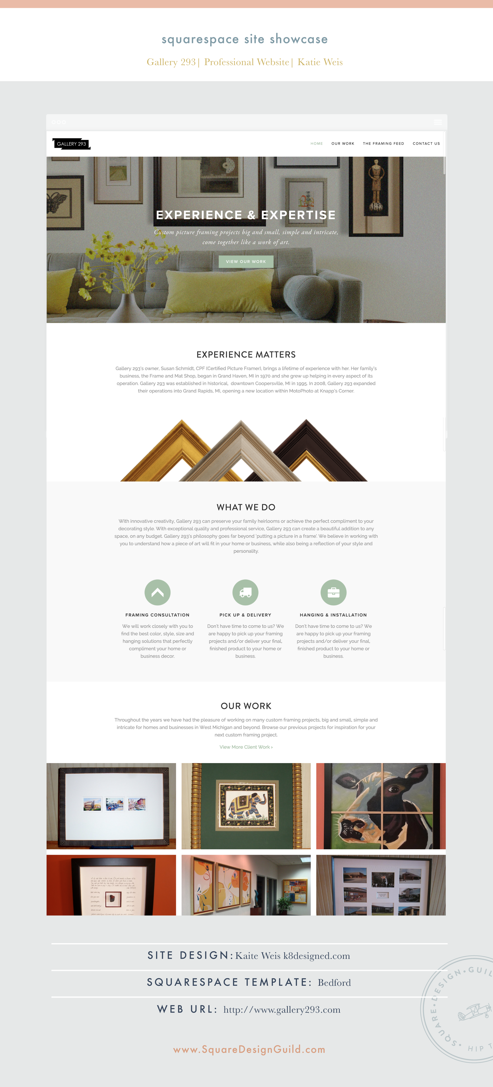 Square Design Guild | Squarespace Site Showcase | Gallery 293 by Kate Weis on Bedford Template