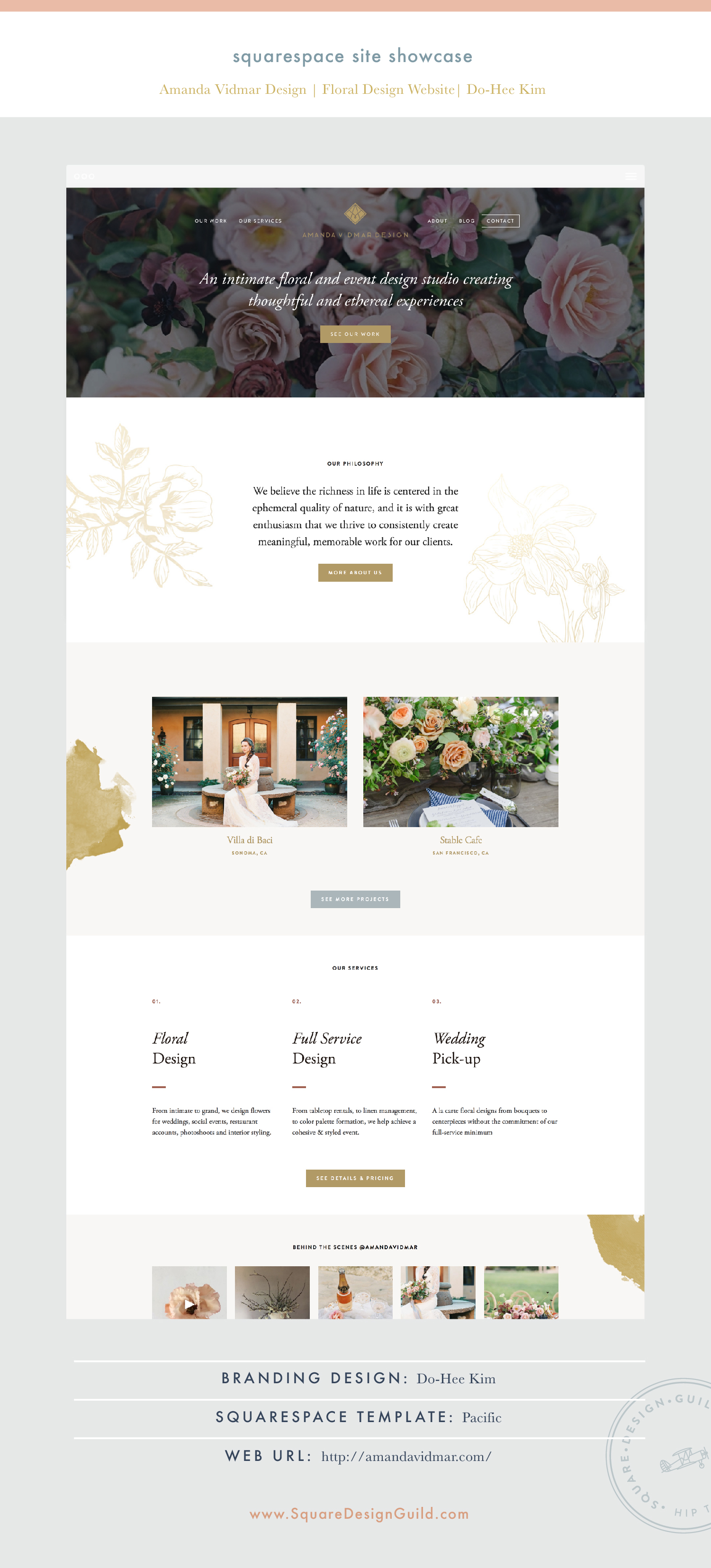 Square Design Guild   Squarespace Site Showcase: Amanda Vidmar Design   Floral Website on Pacific Template