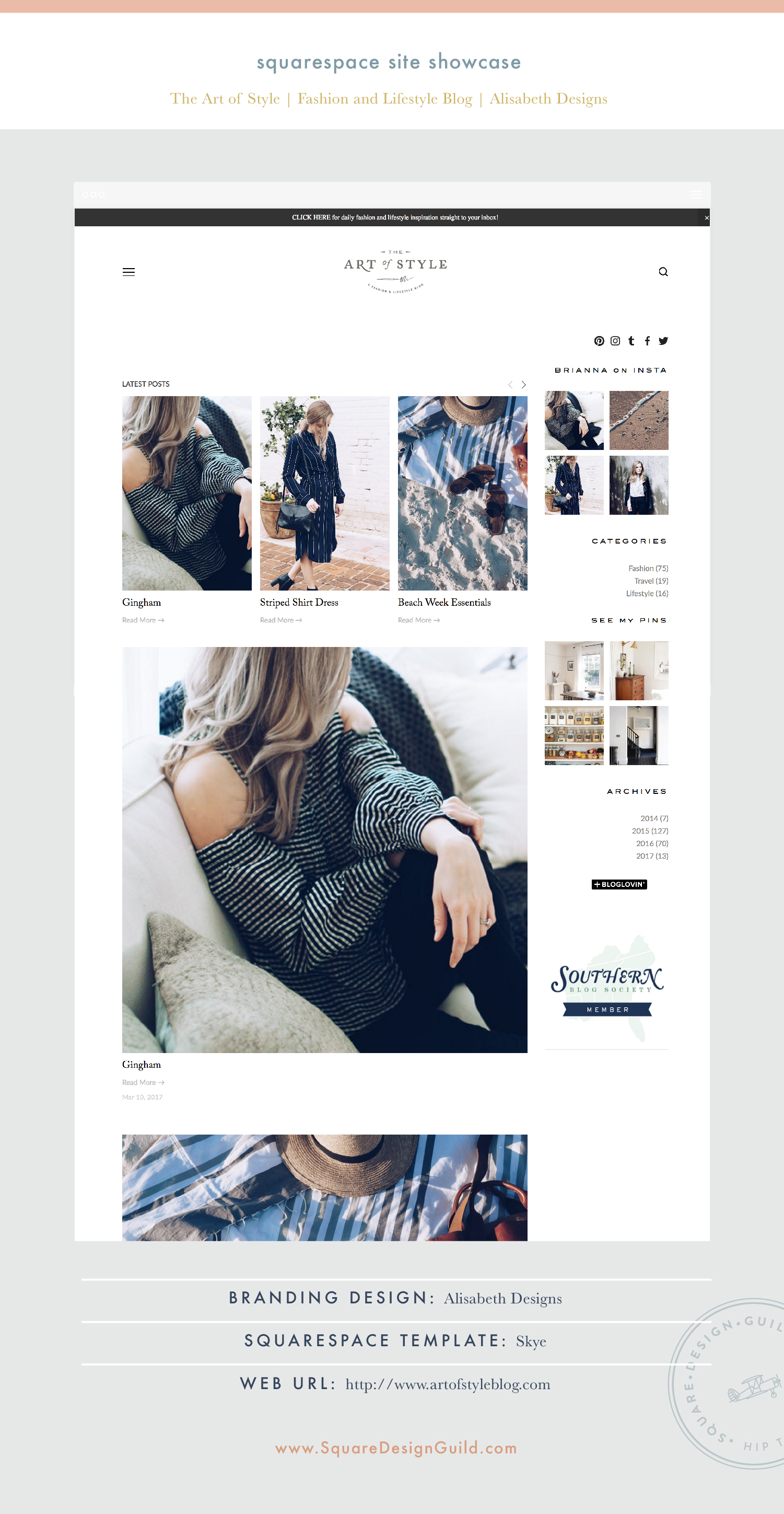 Square Design Guild | Squarespace Site Showcase: The Art of Style | Fashion & Lifestyle Blog on Skye