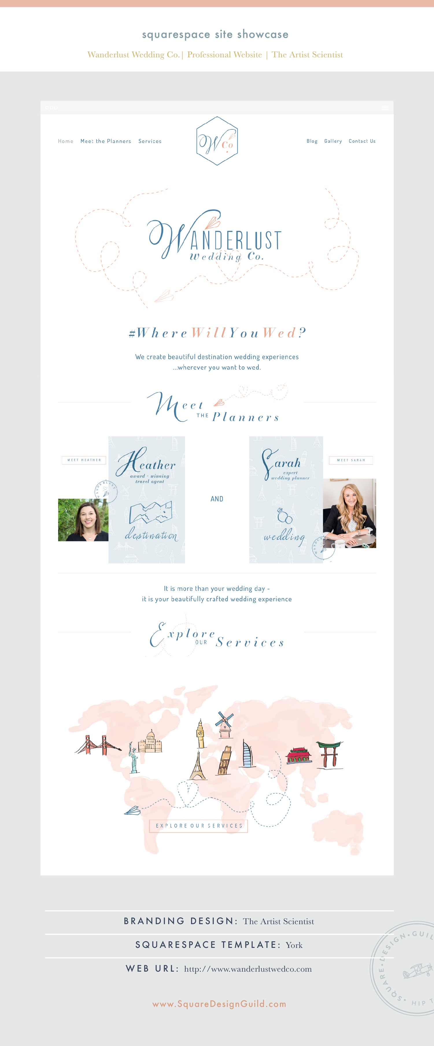 Square Design Guild | Squarespace Site Showcase: Wanderlust Wedding Co. | Professional Website on York