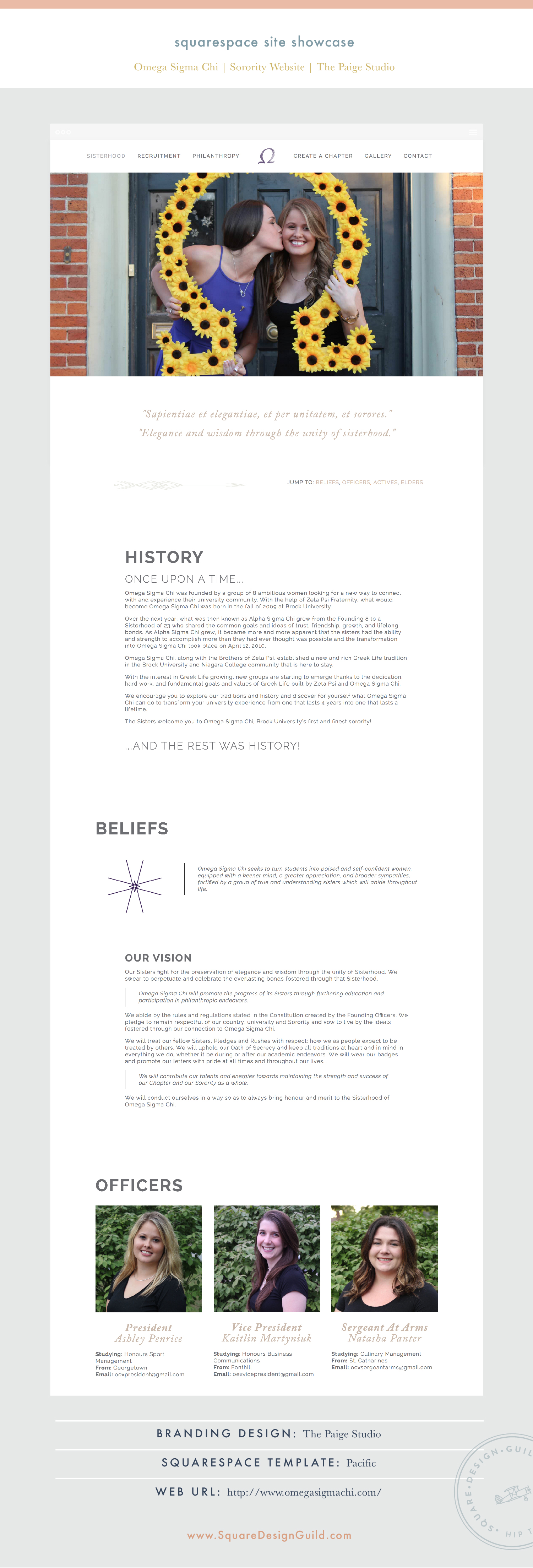 Square Design Guild | Squarespace Site Showcase: Omega Sigma Chi Sorority | Sorority Website on Pacific