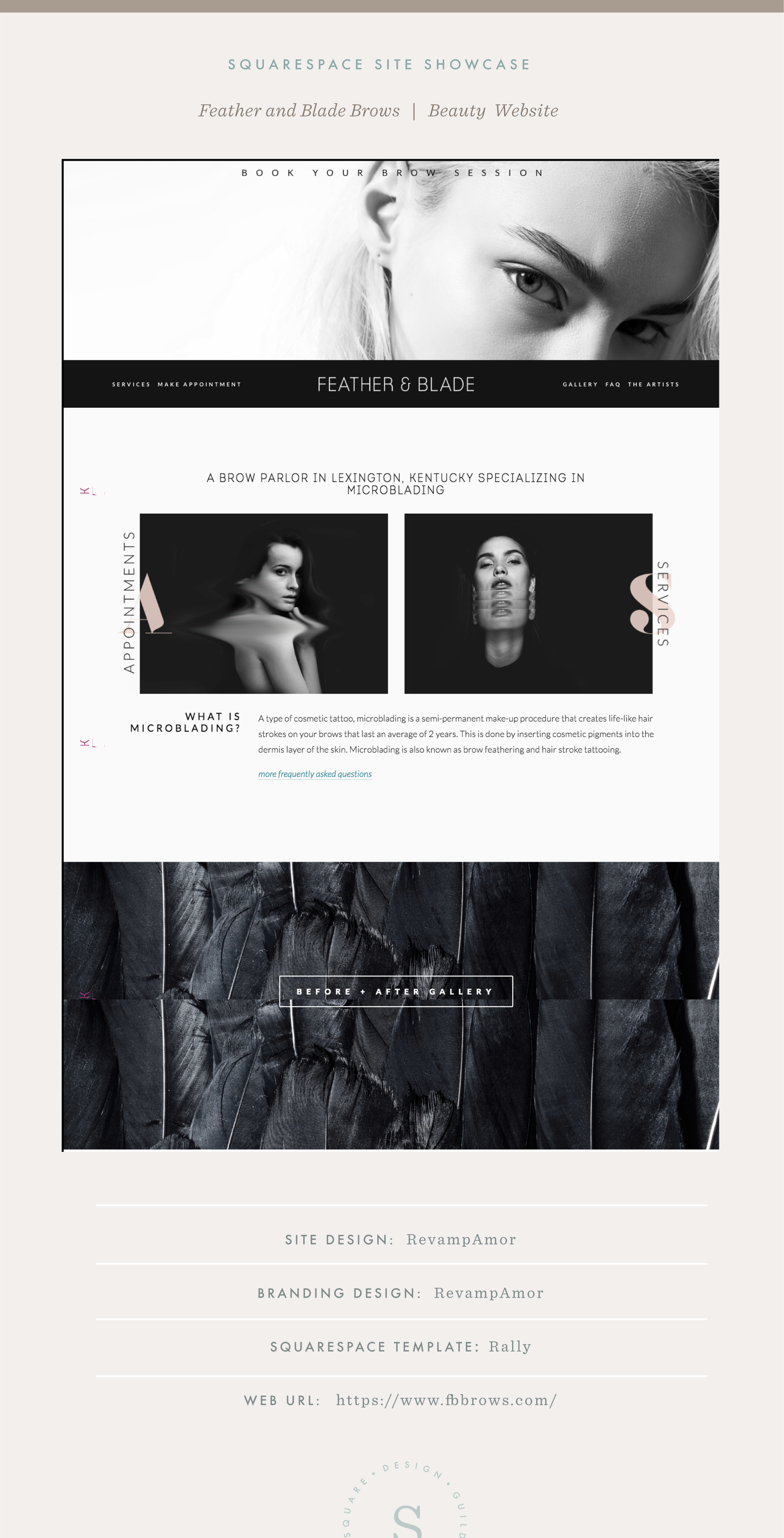 Square Design Guild   Squarespace Site Showcase: Feather and Blade by RevampAmor   Beauty Website