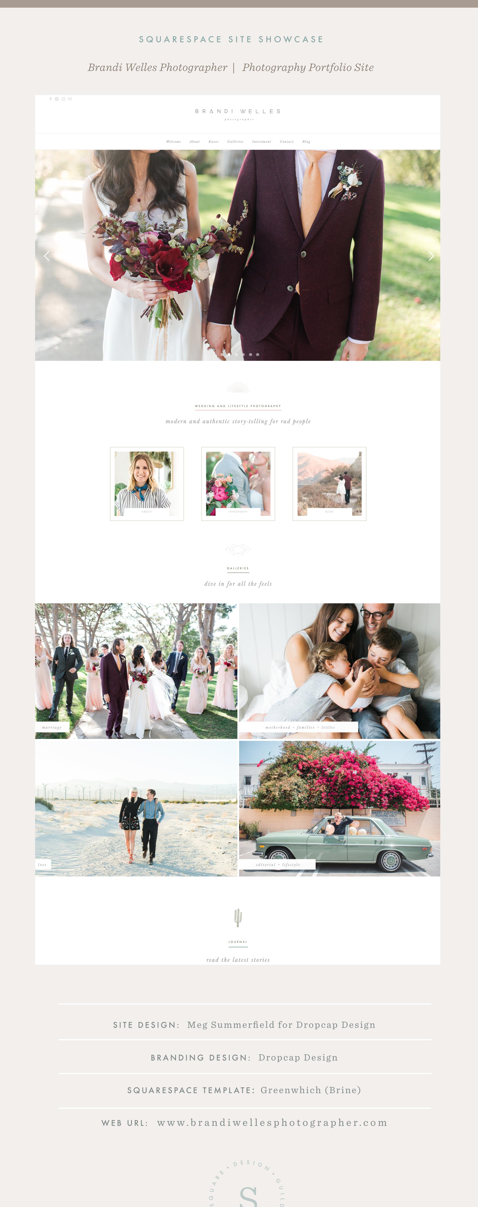 Squarespace Site Showcase | Brandi Welles Photographer | Brine Template | Dropcap Design and Meg Summerfield Studio