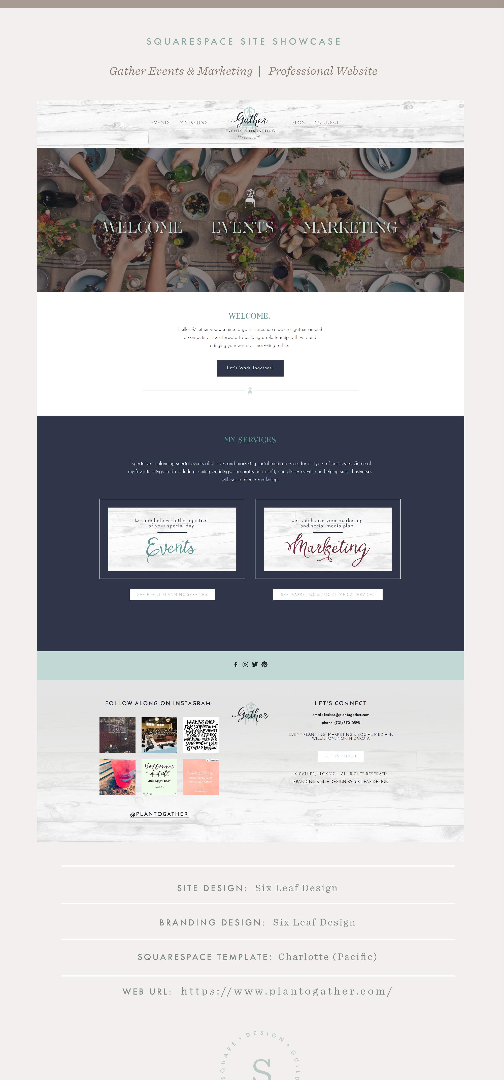 Squarespace Site Showcase | Gather Events & Marketing| Pacific Template | Six Leaf Design