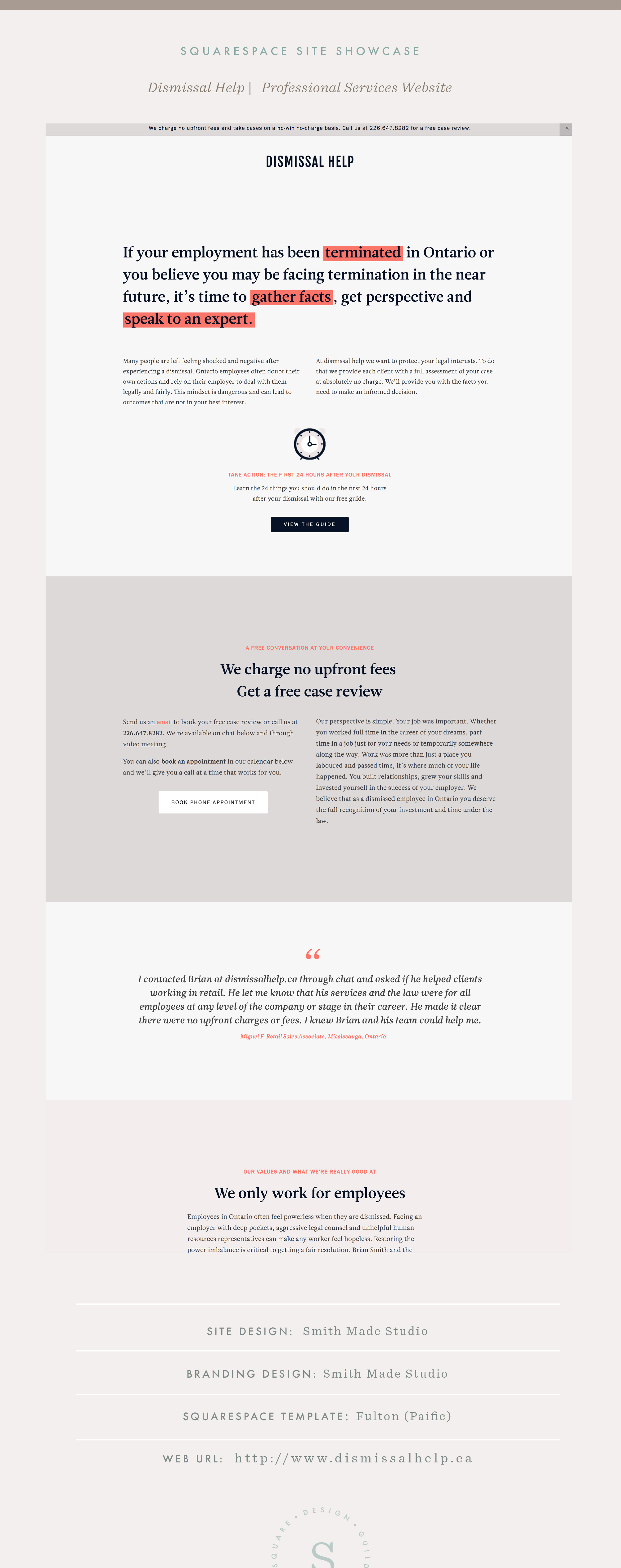 Squarespace Site Showcase | Smithmade Studio | Dismissal Help | Pacific Template | Example of Lawyer Website on Squarespace