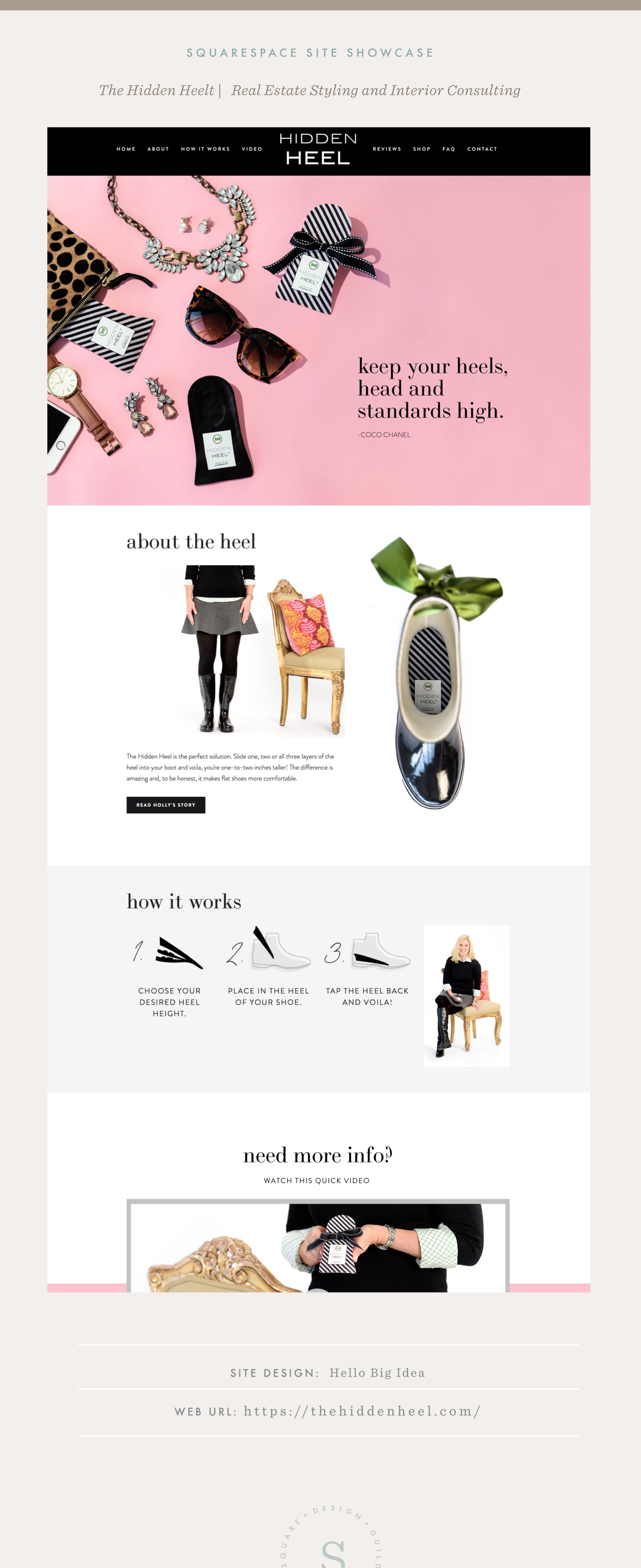 Squarespace Site Showcase   Hello Big Idea   The Hidden Heel   Pacific Template