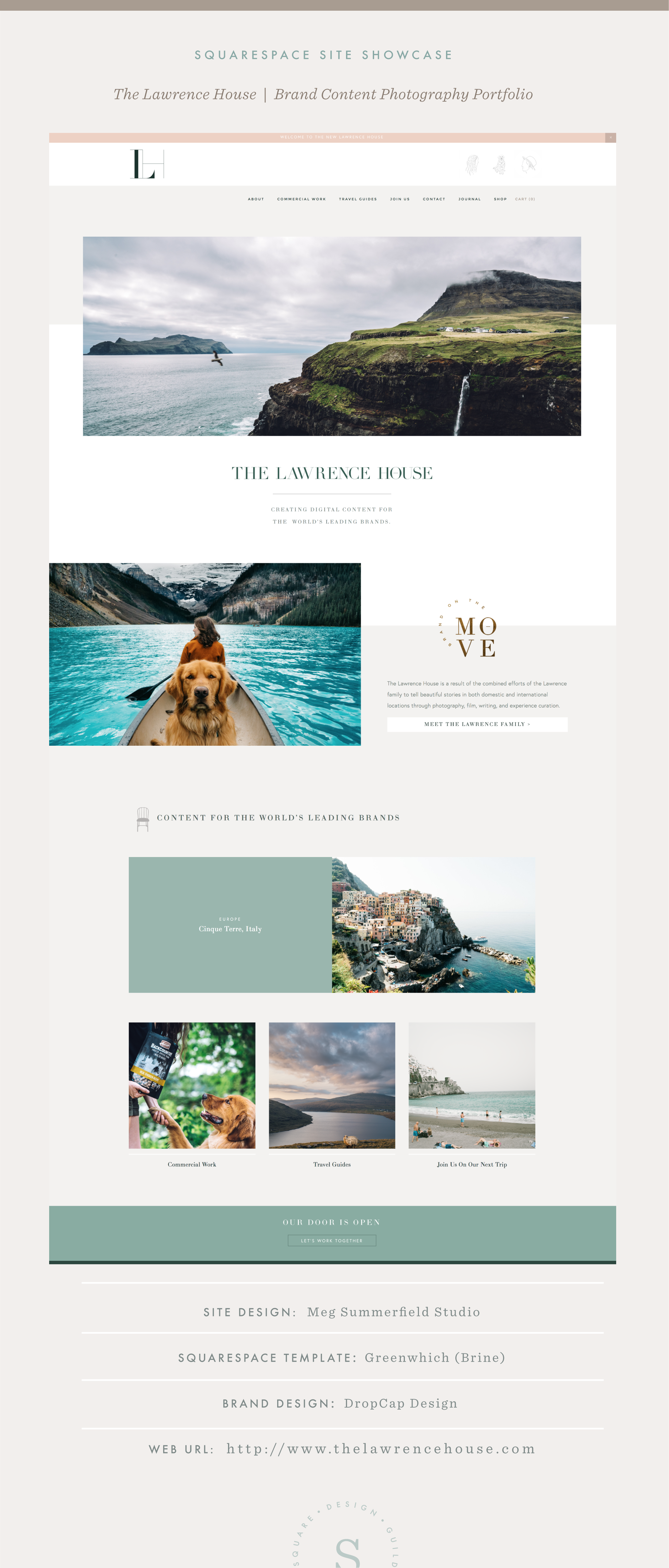 Squarespace Site Showcase | The Lawrence House | Brine Template