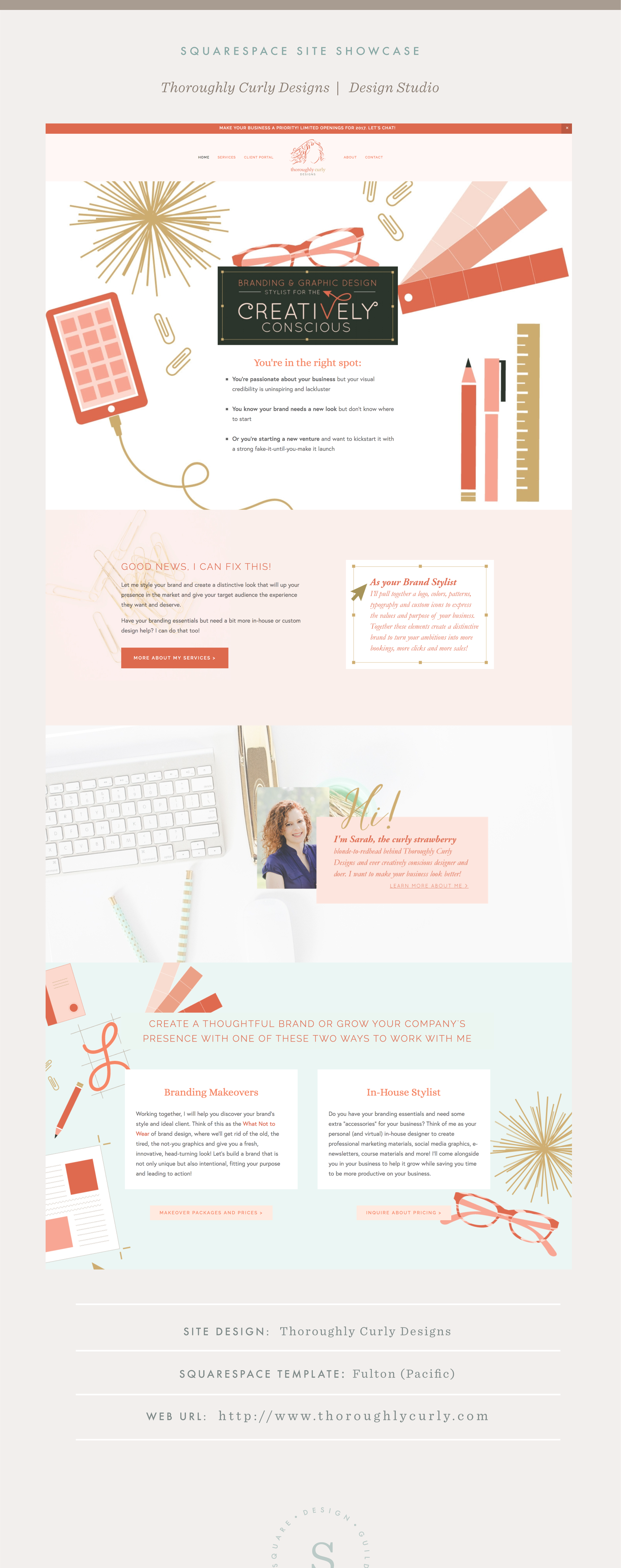 Squarespace Site Showcase | Thoroughly Curly Designs | Fulton Template