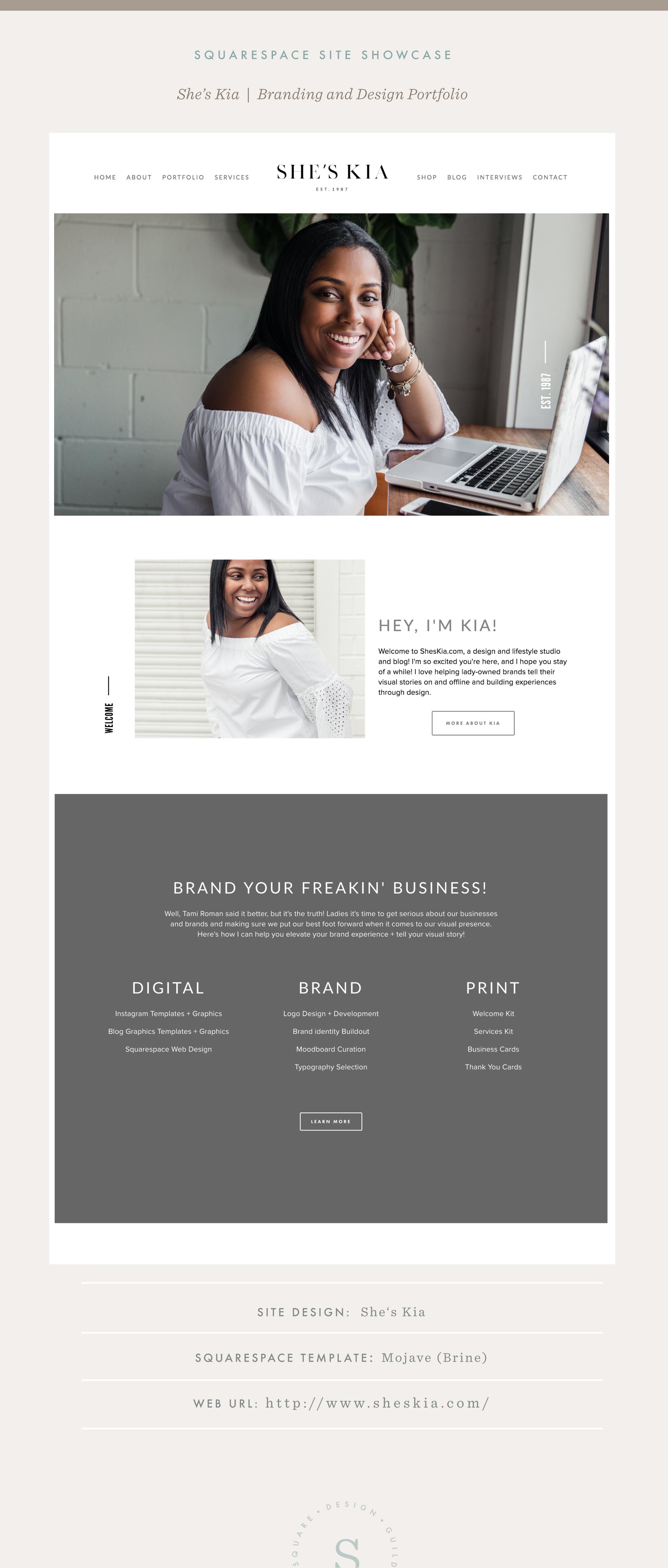 Squarespace Site Showcase | She's Kia | Brine Template