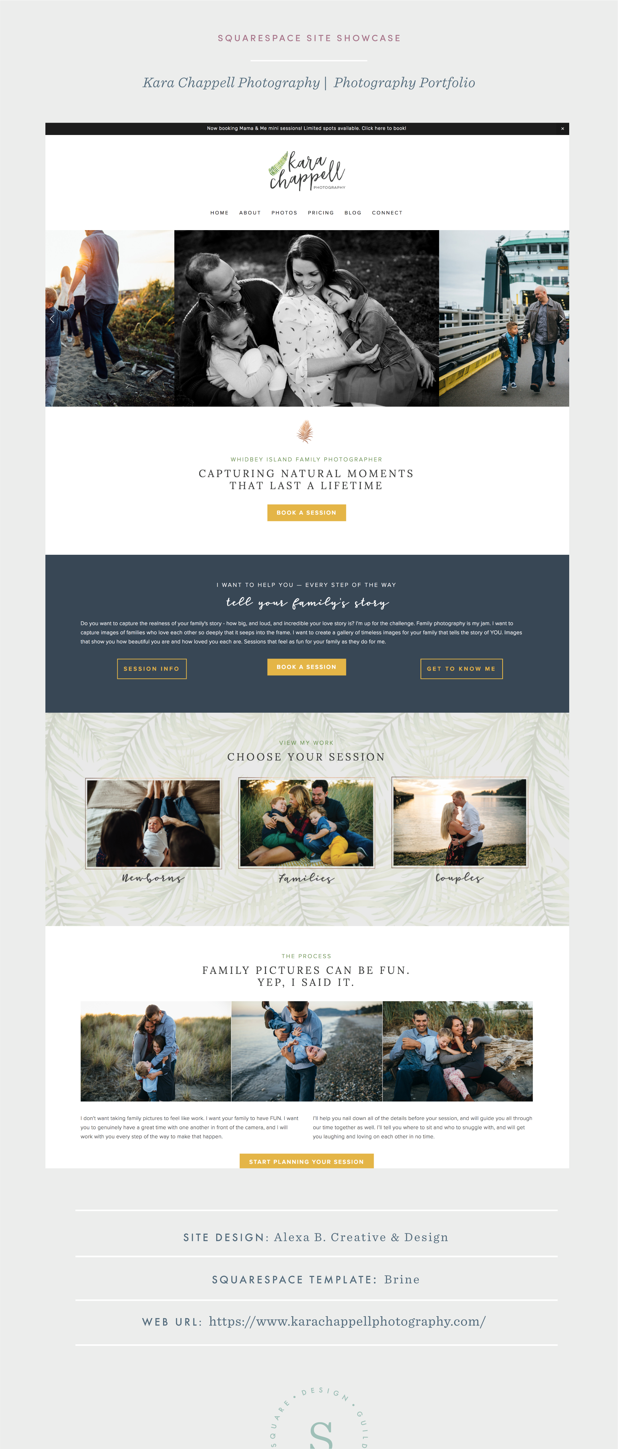 Earthy and Organic Photographers Site on Squarespace Brine Template