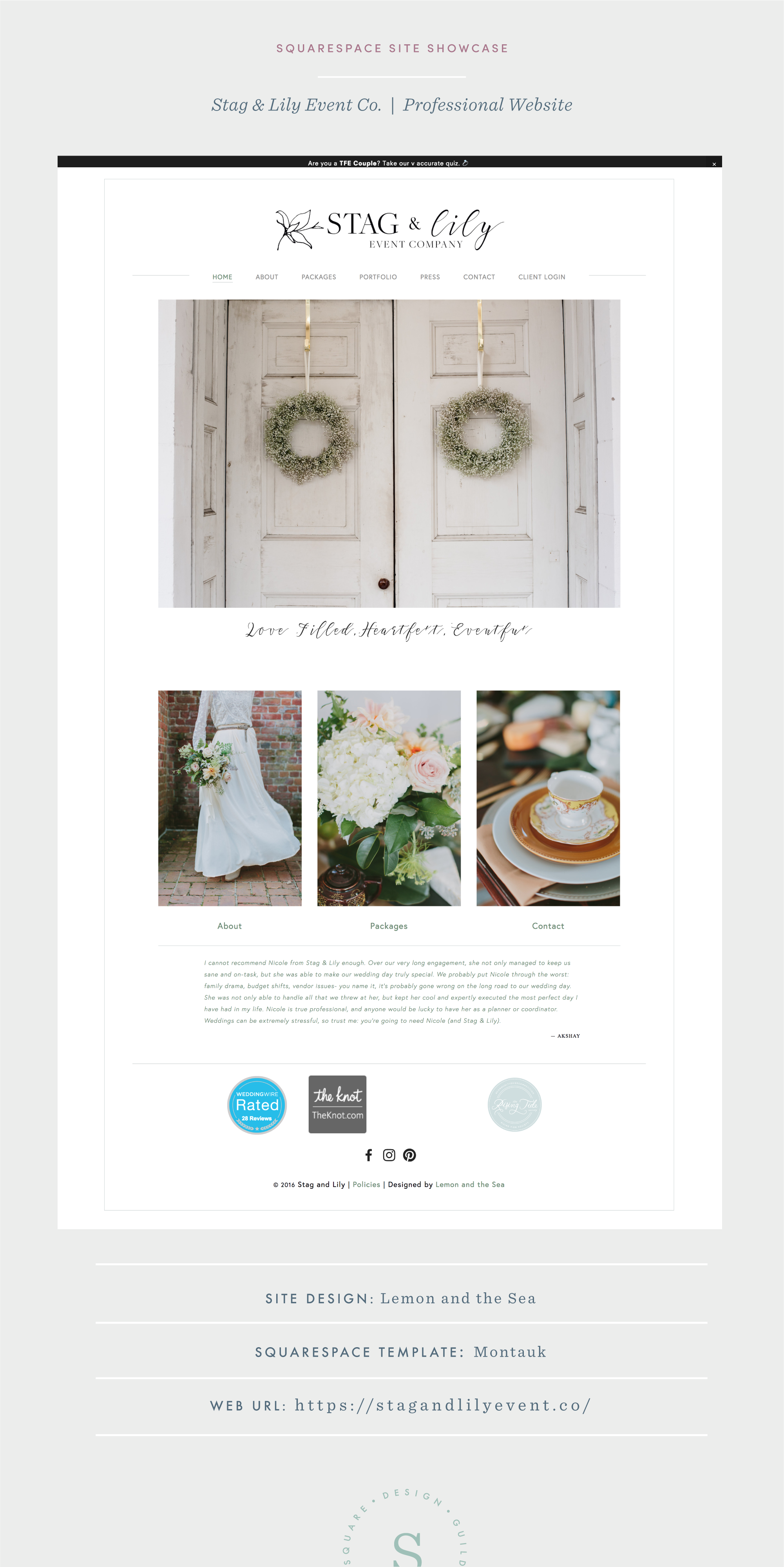 Squarespace Site Design for Wedding Industry