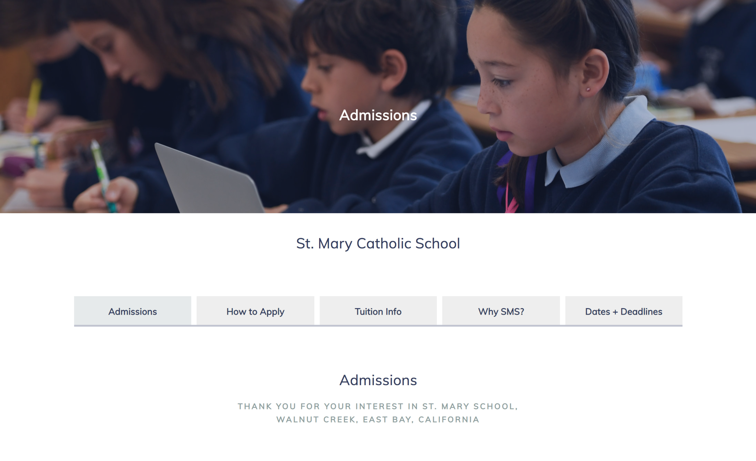 St Mary - For this school's website the idea was to simplify the admissions process, so when someone was looking for data, they had it all at hand, and easy to organize.stmary.net