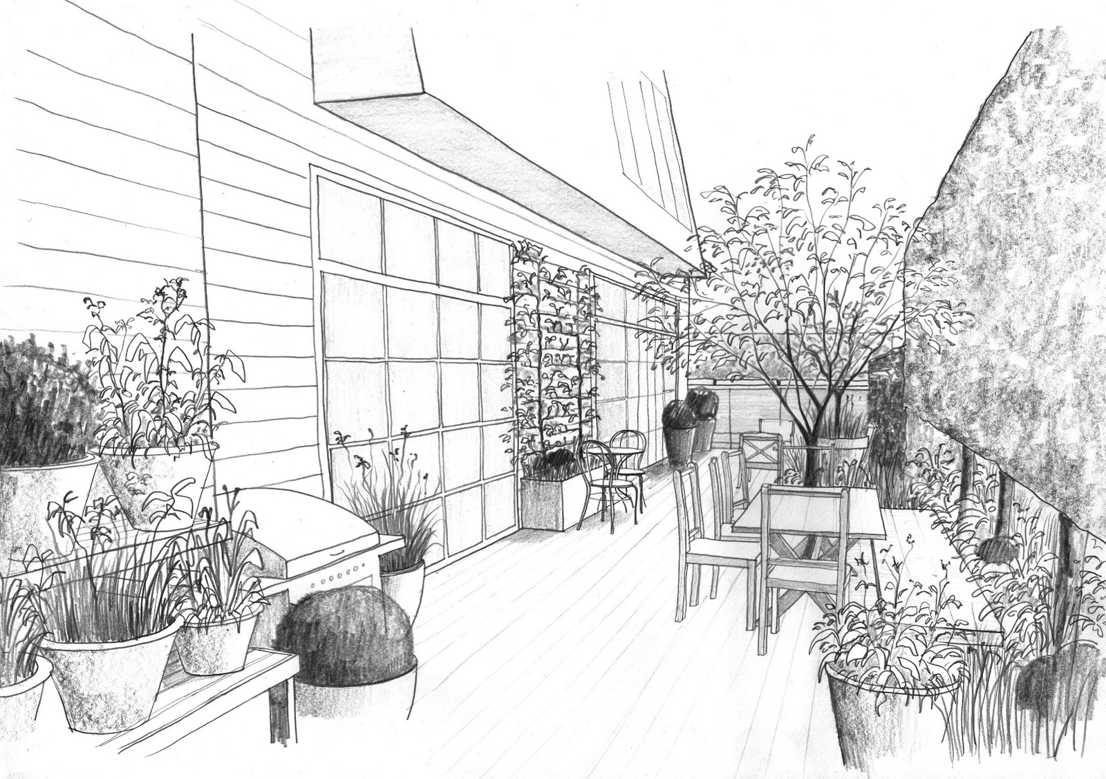 Perspective sketch looking west along the north terrace