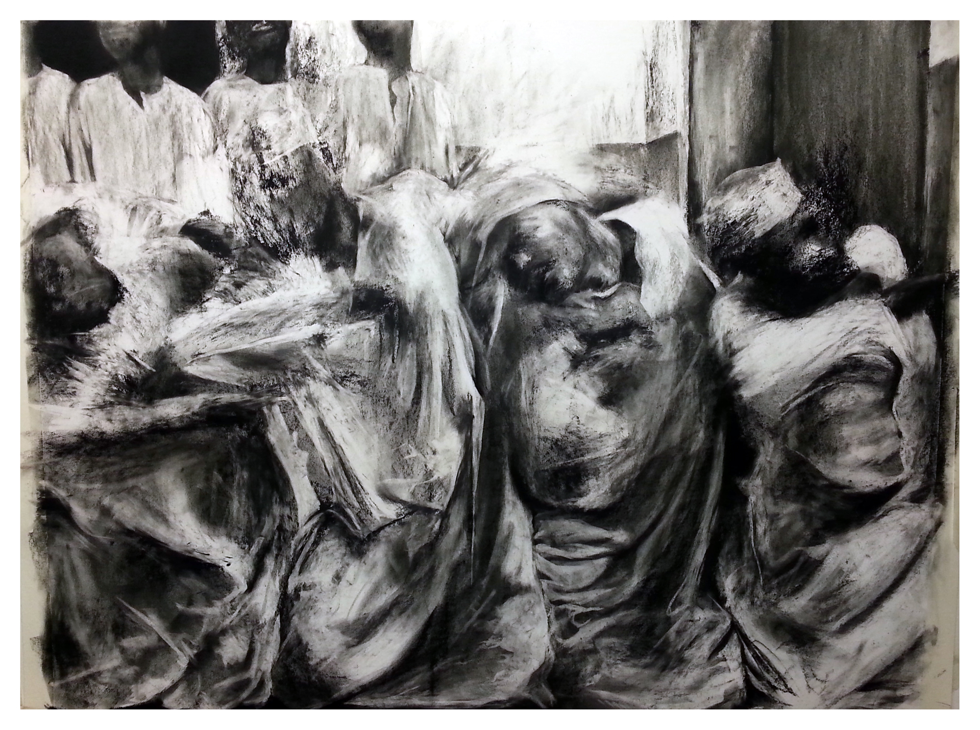 Marama  Charcoal and carbon on paper  153cm x 122cm  2014