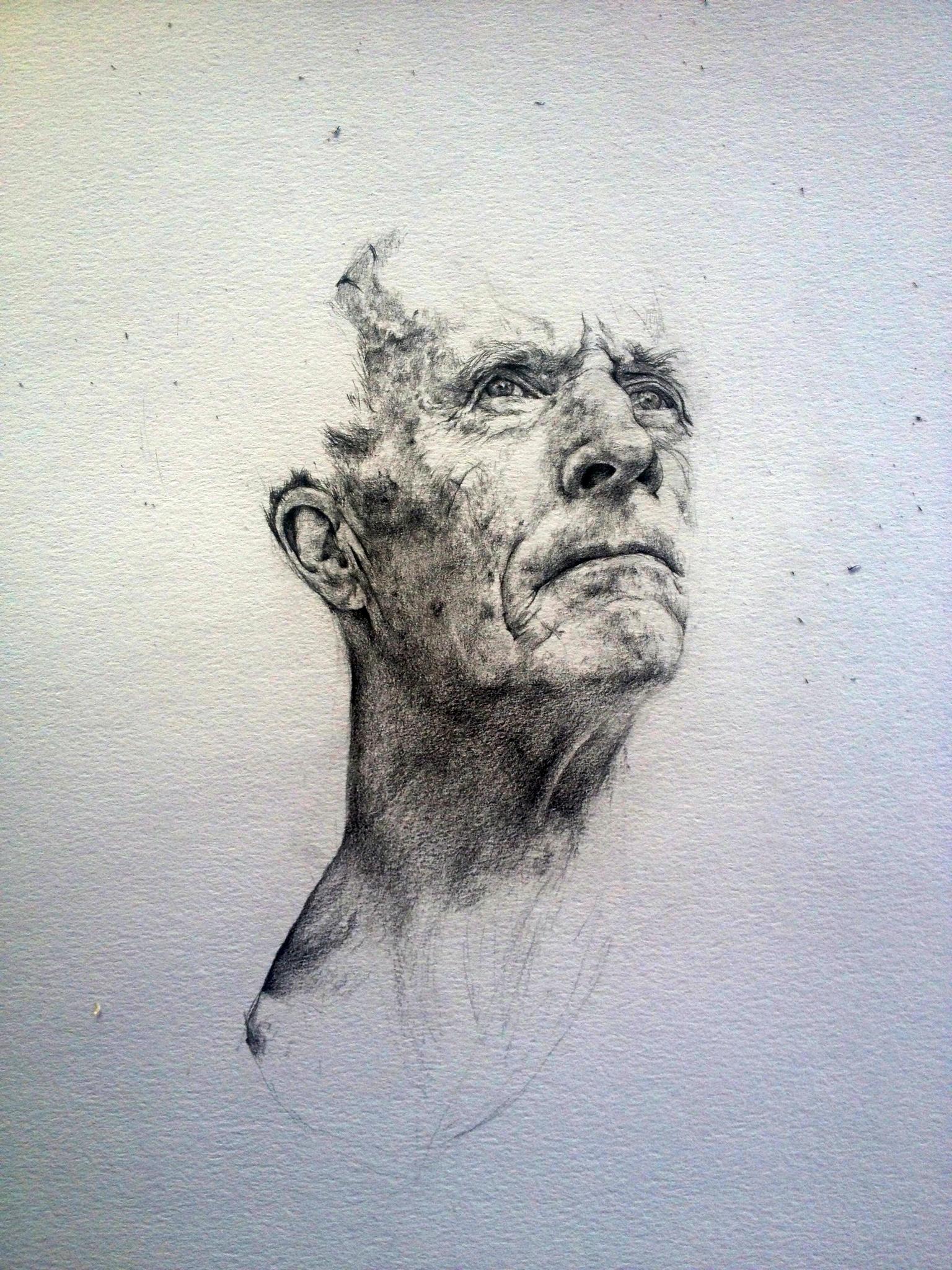 Dad's Head, Looking Forward  Pencil on paper  30cm x 40cm  2014