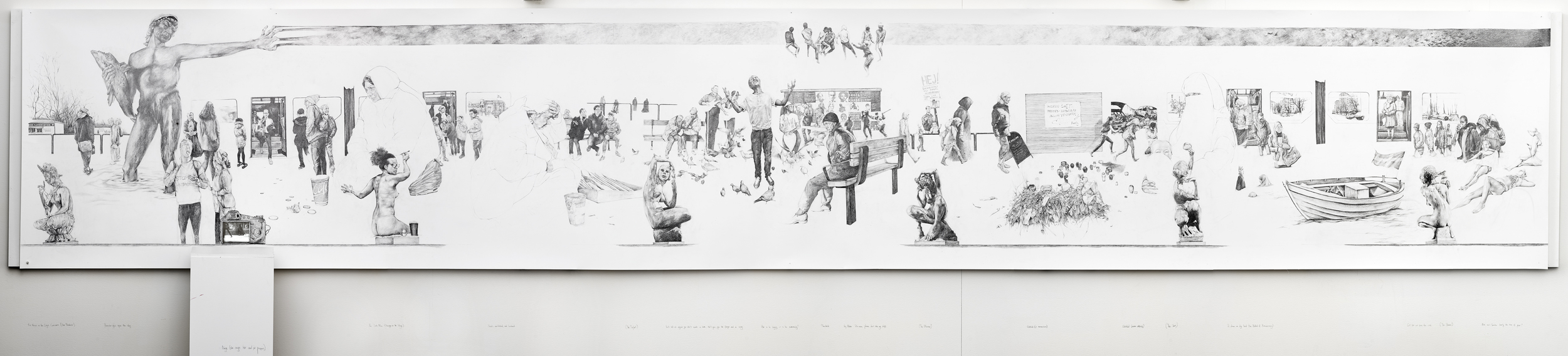 Tramlines  Pencil on paper (mounted) and wall, with looped animation projection  700cm x 200cm  2015  Photo: Hendrik Zeitler. Venue: Bla Stallet Konsthallen, Angered, Gothenburg