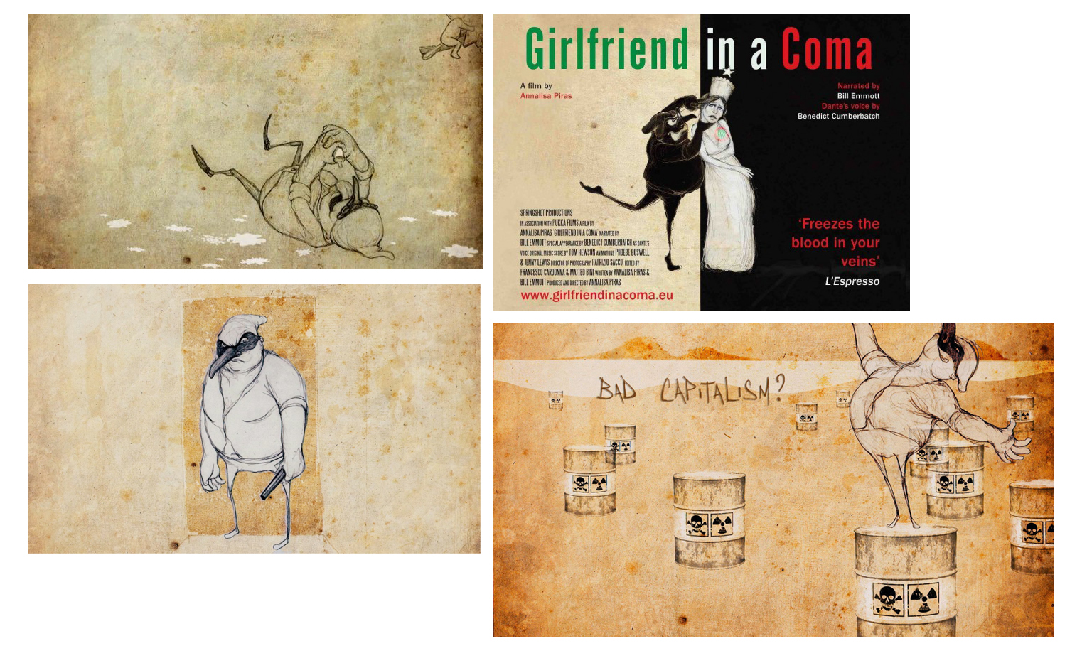 Girlfriend In A Coma    R&D, Character Design, Animation DIrection    Directed by Annalisa Piras. Presented by Bill Emmott. Produced by Springshot Productions. Screened at ICA.   2012