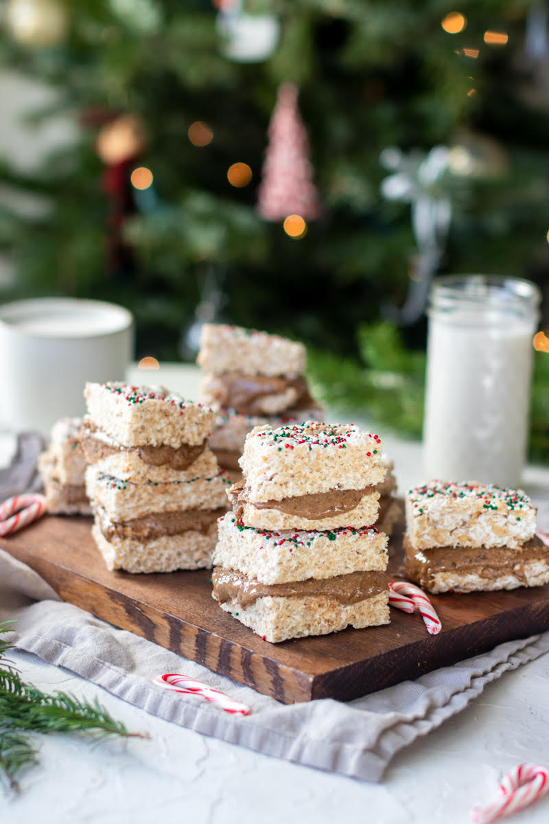 Chocolate NuttZo Stuffed Rice Krispy Treats